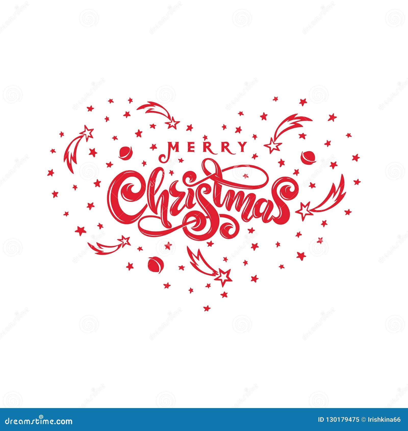 Γραπτό διακοσμημένο χέρι γράφοντας λογότυπο επιγραφής Χαρούμενα Χριστούγεννας καλλιγραφικό, πλαίσιο καρδιών με τα αστέρια πτώσης