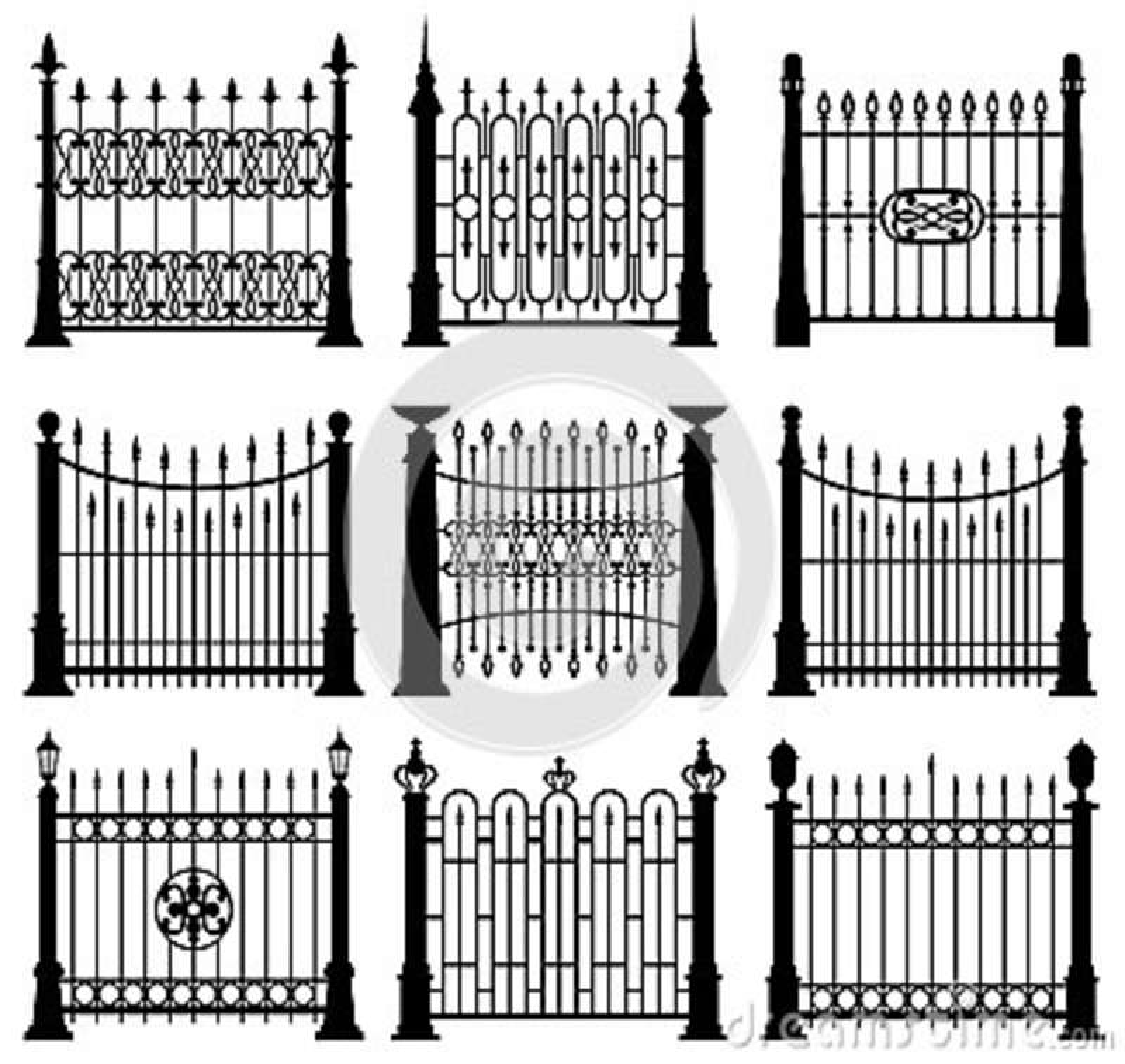 Γραπτό διανυσματικό σύνολο στοιχείων αρχιτεκτονικής πυλών και φρακτών σιδήρου