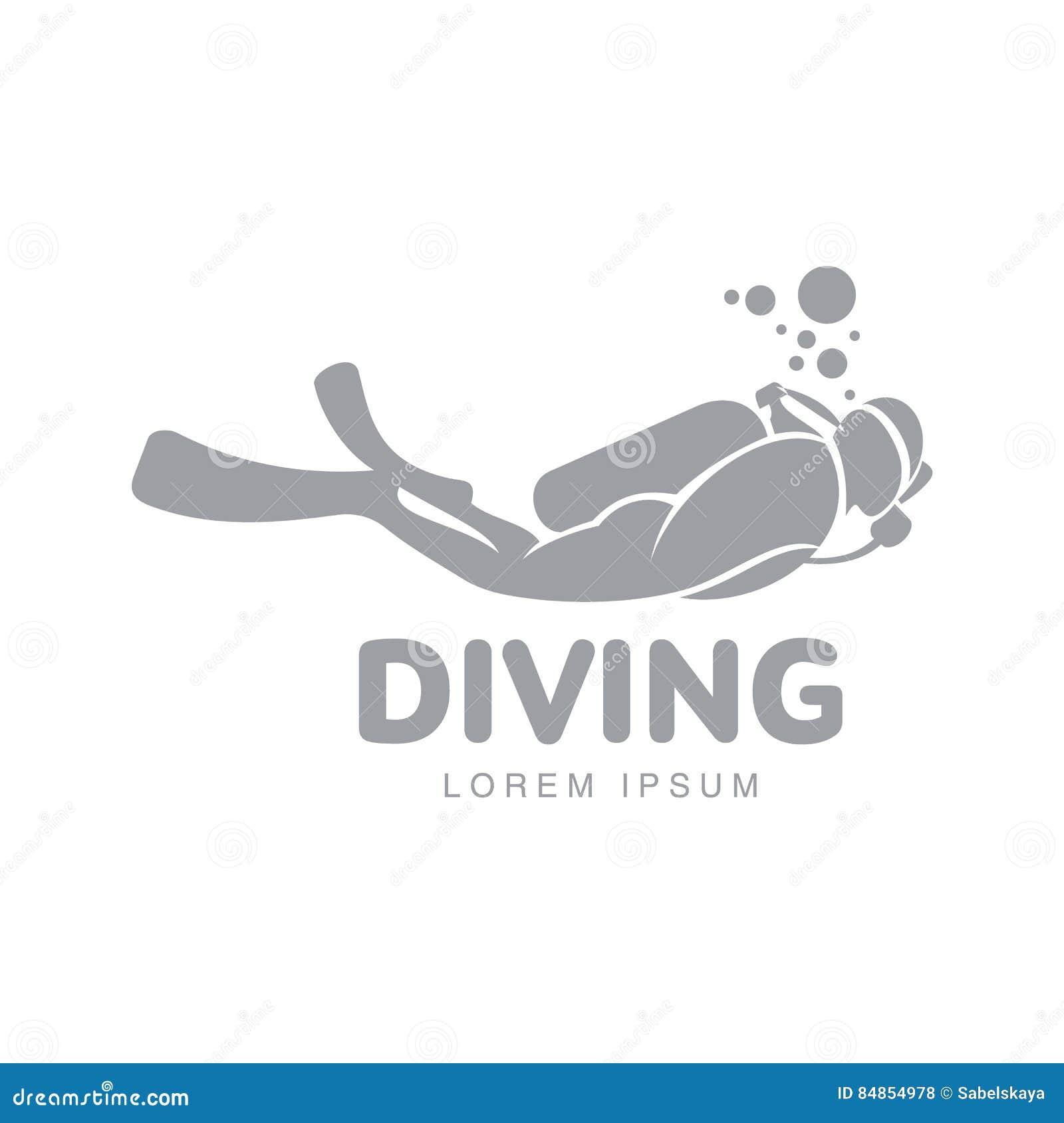 Γραπτό πρότυπο λογότυπων κατάδυσης με την κολύμβηση δυτών υποβρύχια