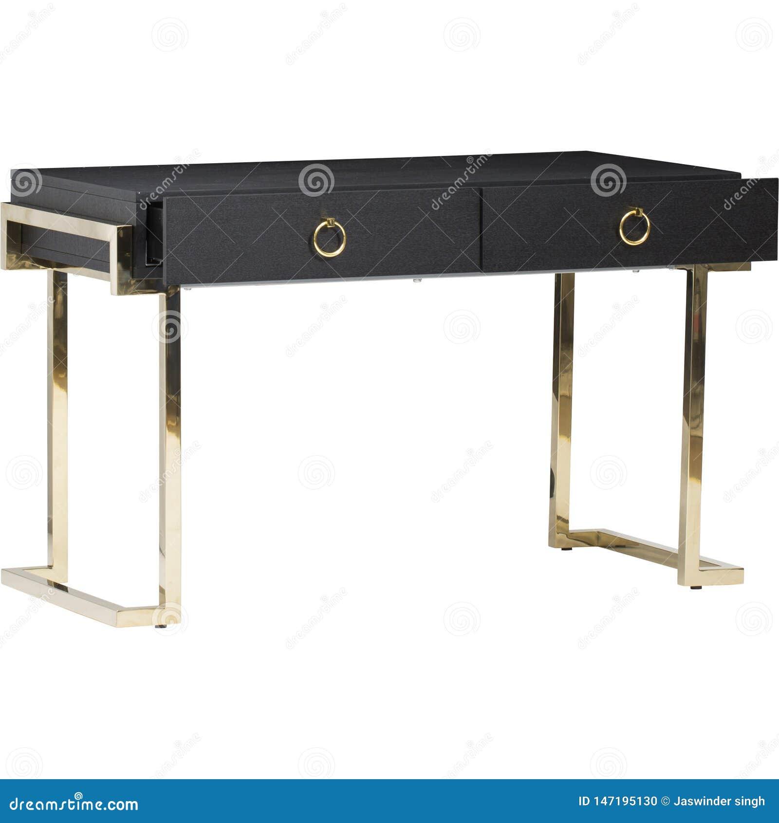 Γραφείο εγχώριων επιπλώσεων, ξύλινο γραφείο με τα εισελκόμενα ράφια στα πόδια μετάλλων Ξύλινο γραφείο στο άσπρο υπόβαθρο με τις σ