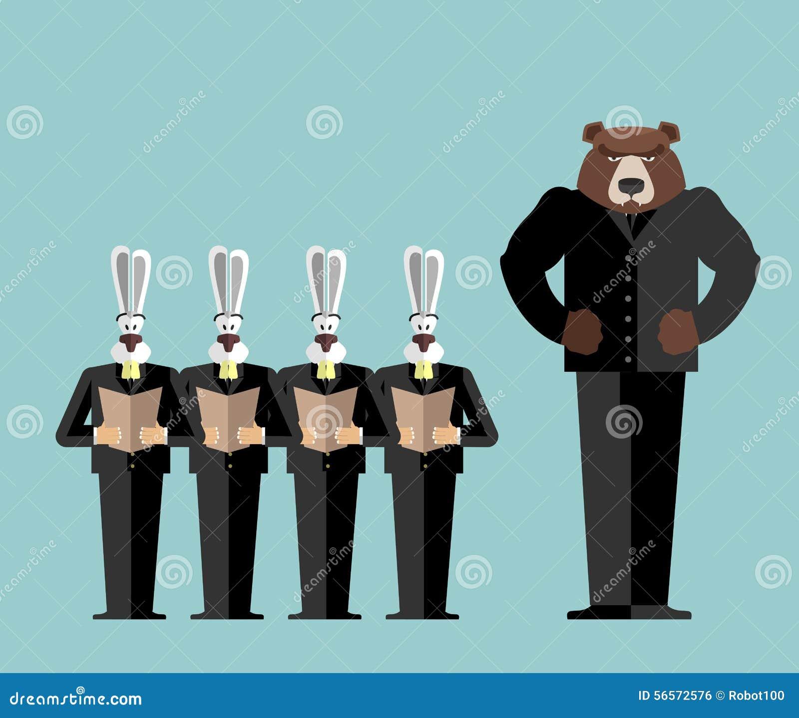 Download Γραφείο συνεδρίασης Αντέξτε το μεγάλο προϊστάμενο επιπλήττει τα κουνέλια Οι λαγοί είναι φοβισμένοι Διανυσματική απεικόνιση - εικονογραφία από άνθρωποι, πολιτικός: 56572576