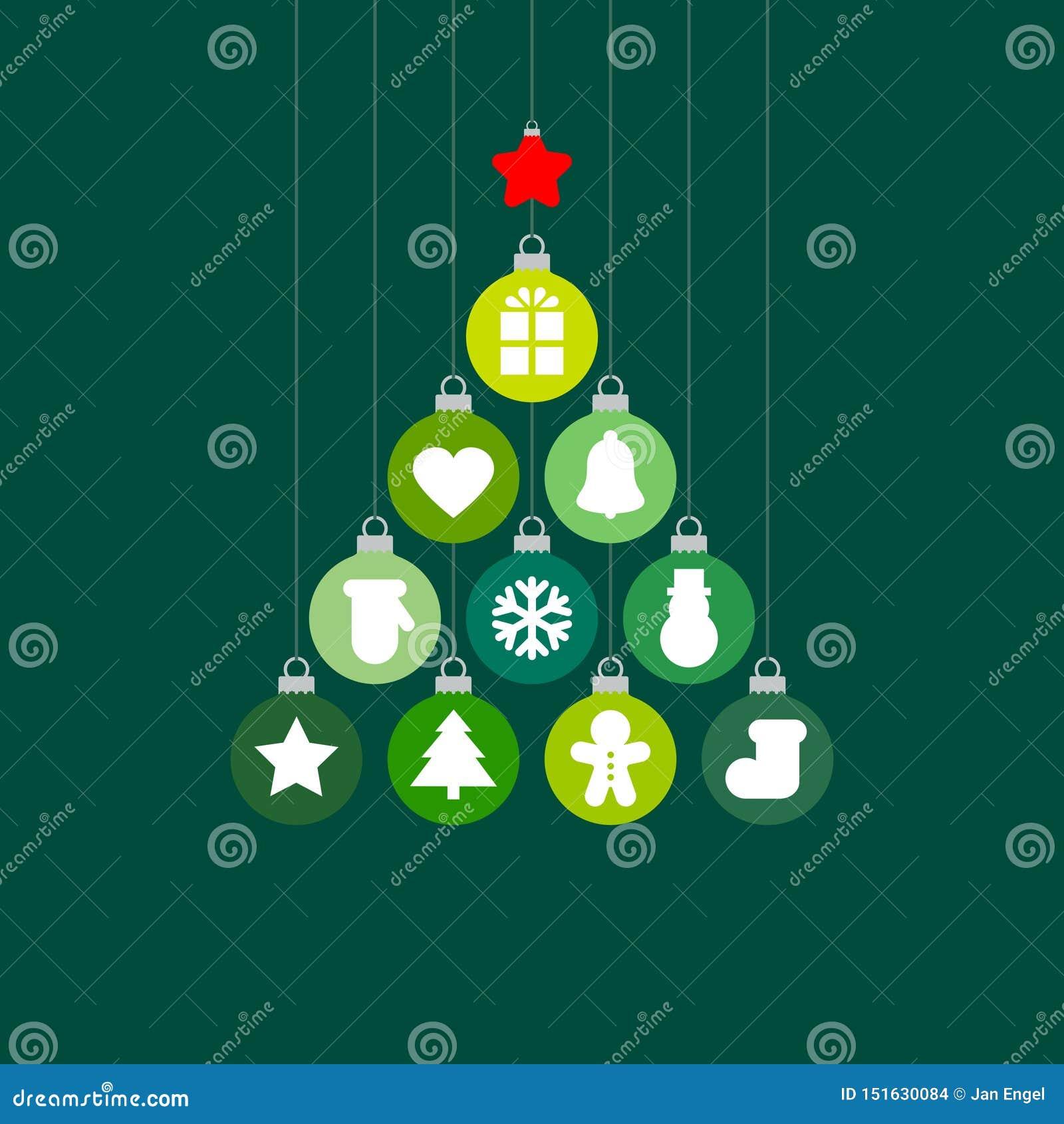 Γραφικά μπιχλιμπίδια χριστουγεννιάτικων δέντρων με το πράσινο κόκκινο ασήμι εικονιδίων
