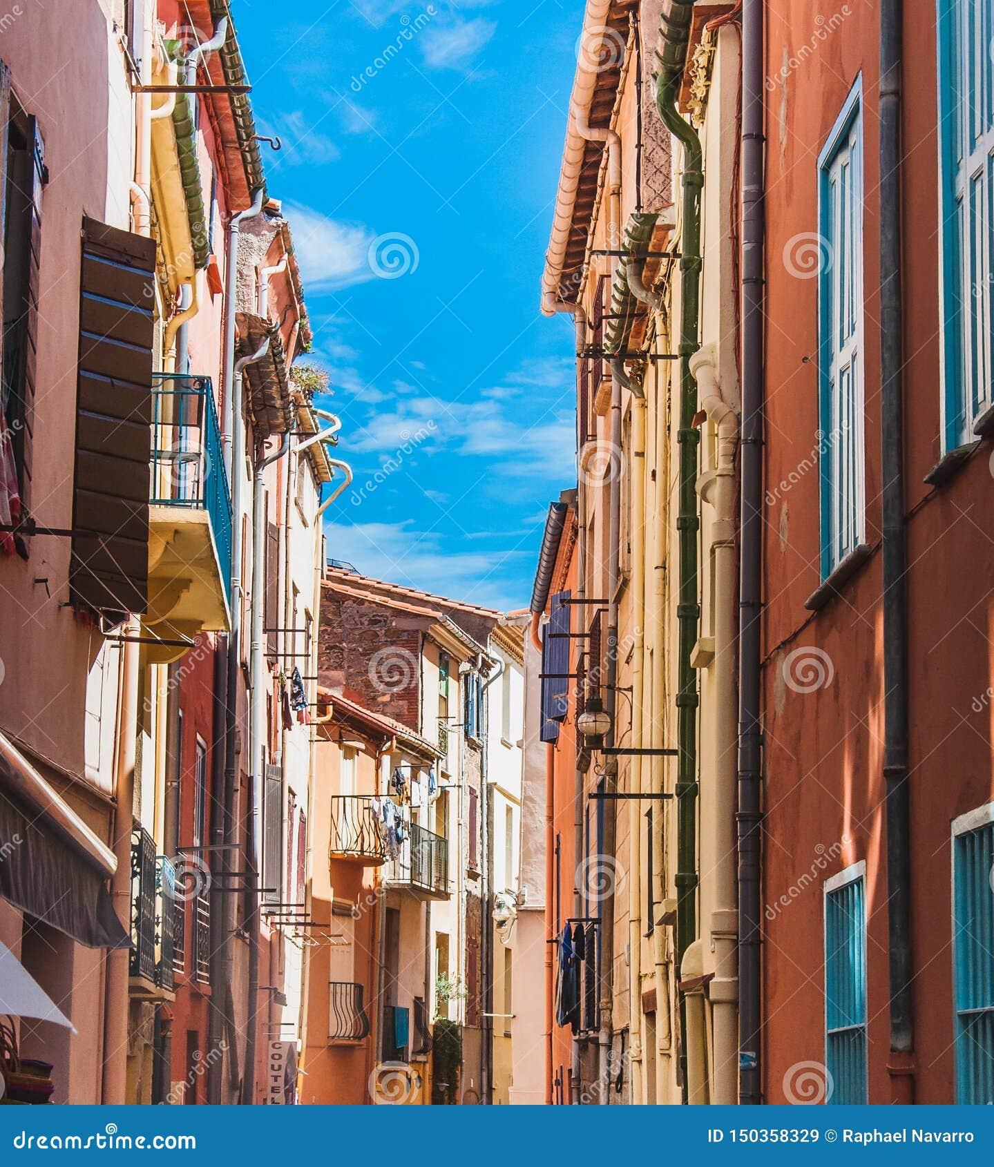 Γραφική άποψη των οδών Collioure, Γαλλία