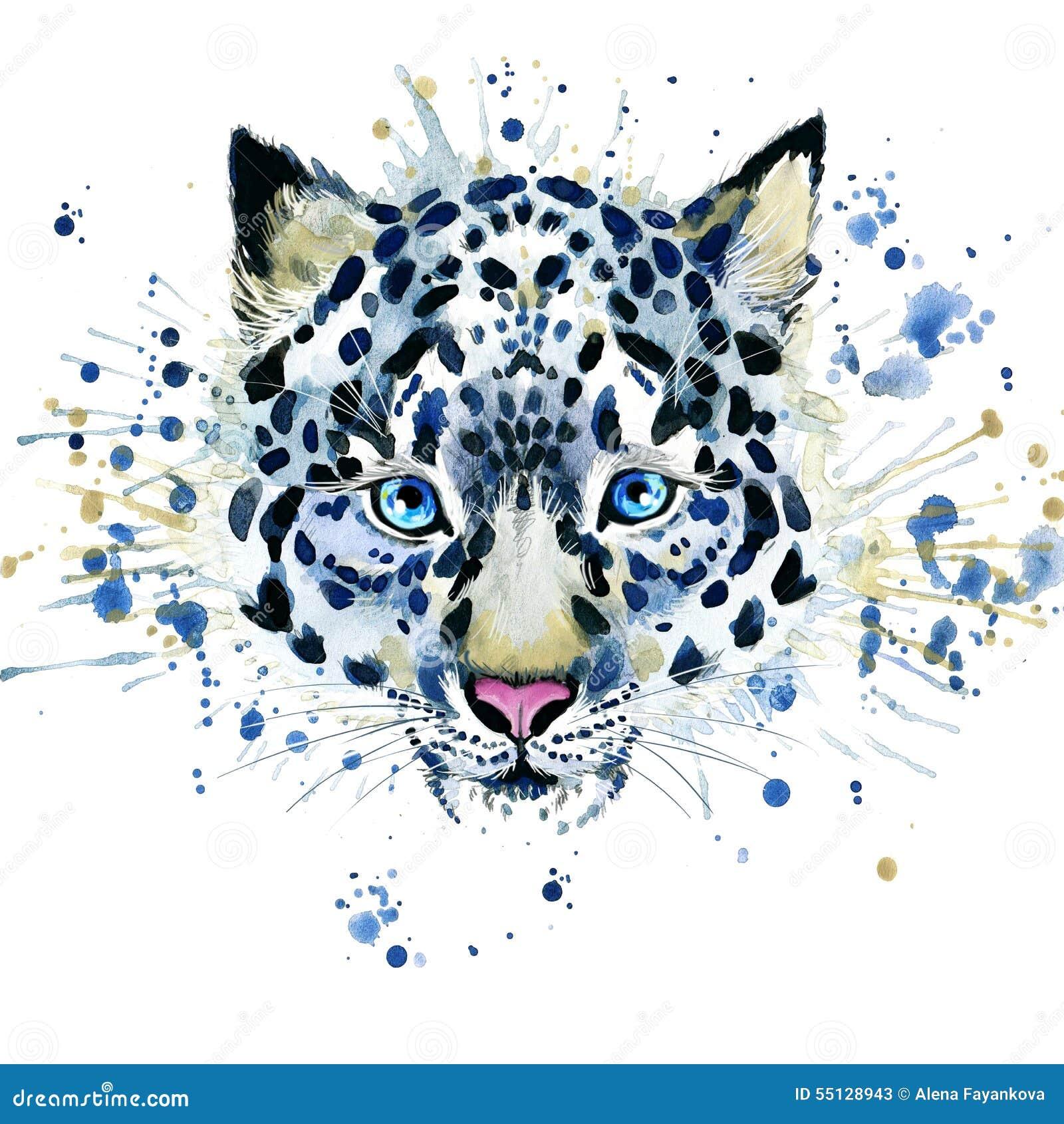 Γραφική παράσταση μπλουζών/χαριτωμένη λεοπάρδαλη χιονιού, watercolor απεικόνισης