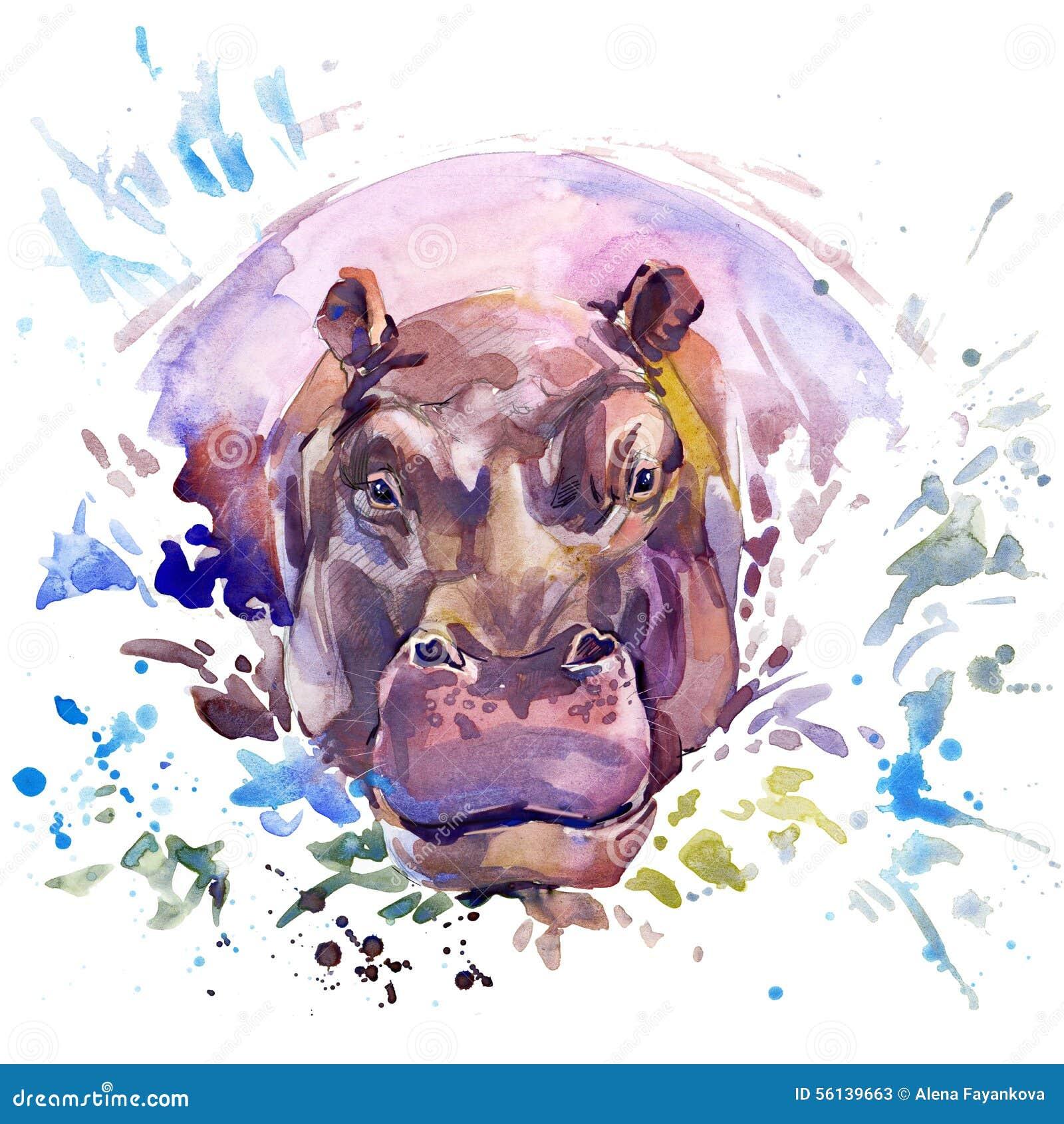 Γραφική παράσταση μπλουζών Hippopotamus, αφρικανική απεικόνιση hippopotamus ζώων