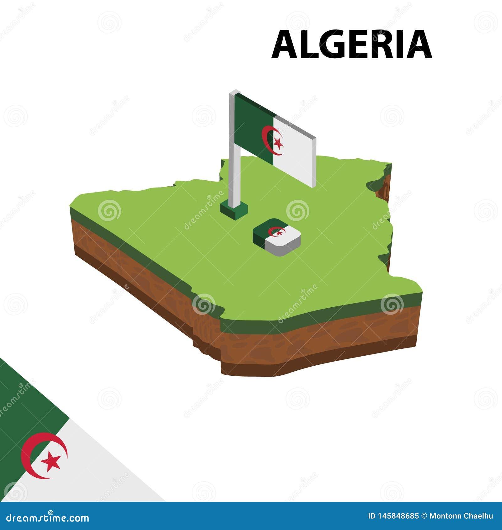 Γραφικοί Isometric χάρτης πληροφοριών και σημαία της Αλγερίας τρισδιάστατη isometric διανυσματική απεικόνιση