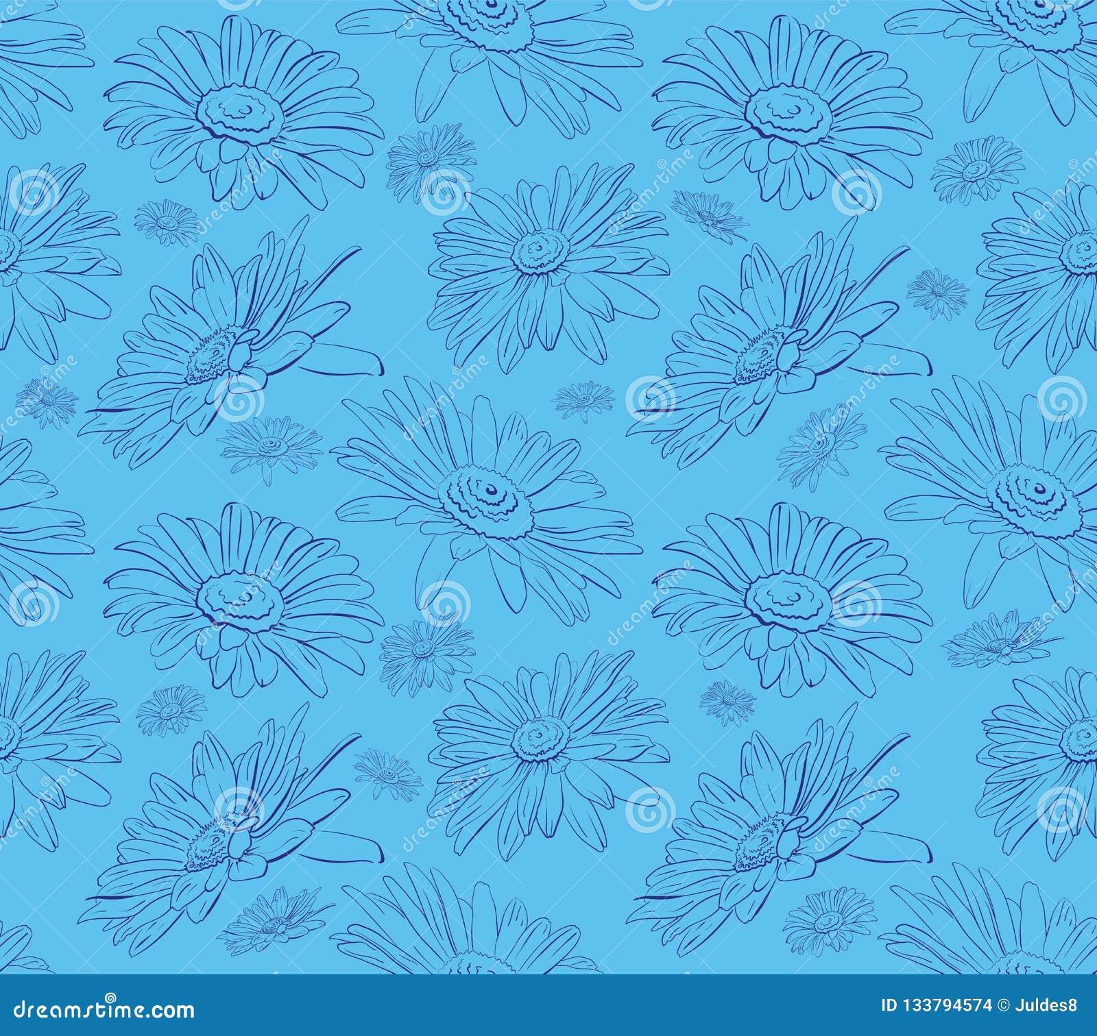 Γραφικό άνευ ραφής floral σχέδιο μαργαριτών