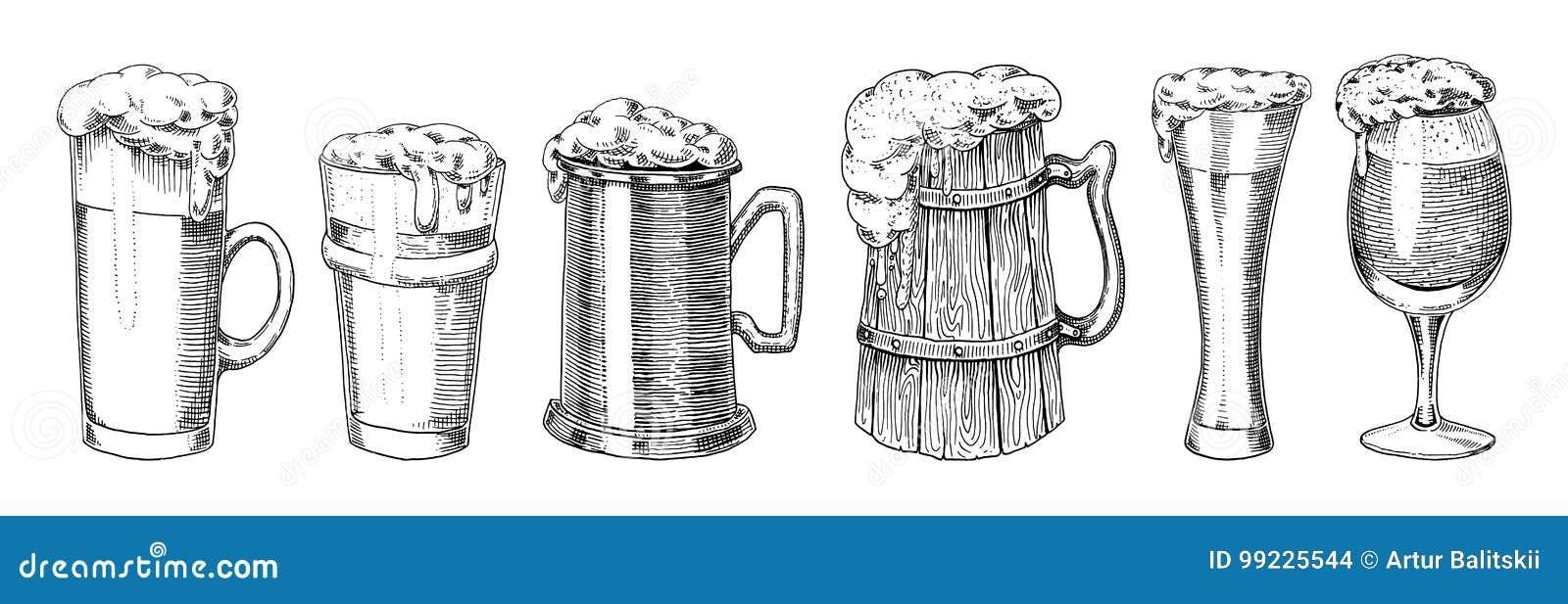Γυαλί, κούπα ή μπουκάλι μπύρας πιό oktoberfest που χαράσσονται στο χέρι μελανιού που σύρεται στο παλαιό σκίτσο και το εκλεκτής πο