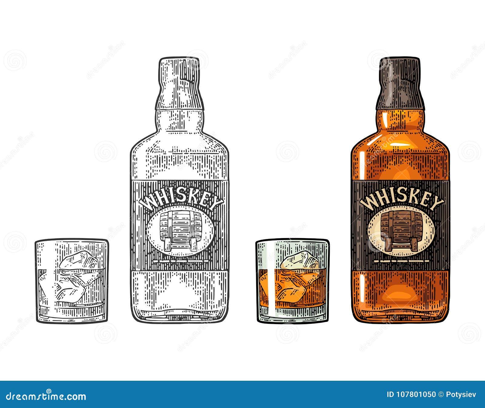 Γυαλί ουίσκυ με τους κύβους πάγου και ετικέτα μπουκαλιών με το βαρέλι