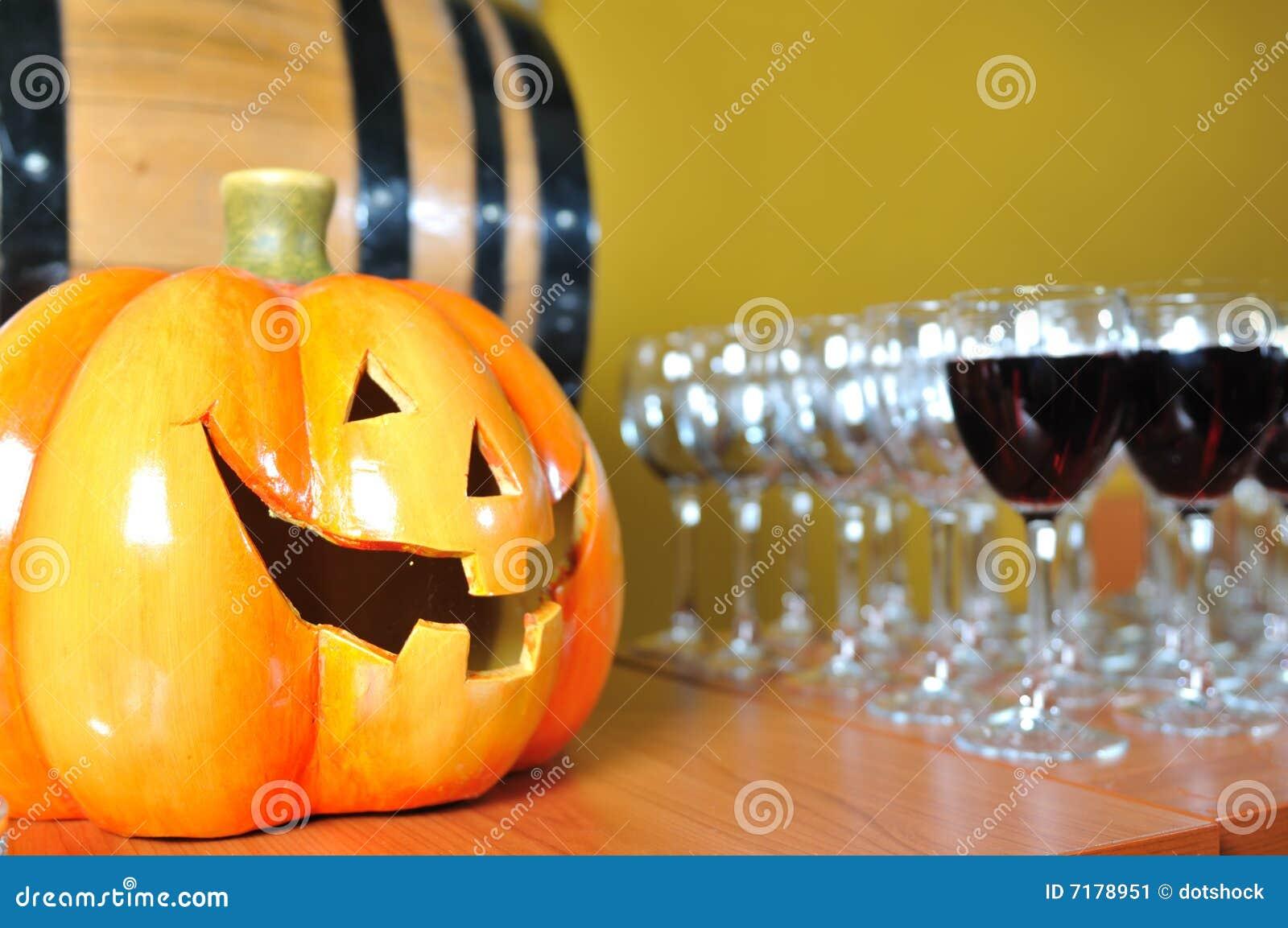 Γυαλιά κολοκύθας και κρασιού συμβαλλόμενων μερών Helloween