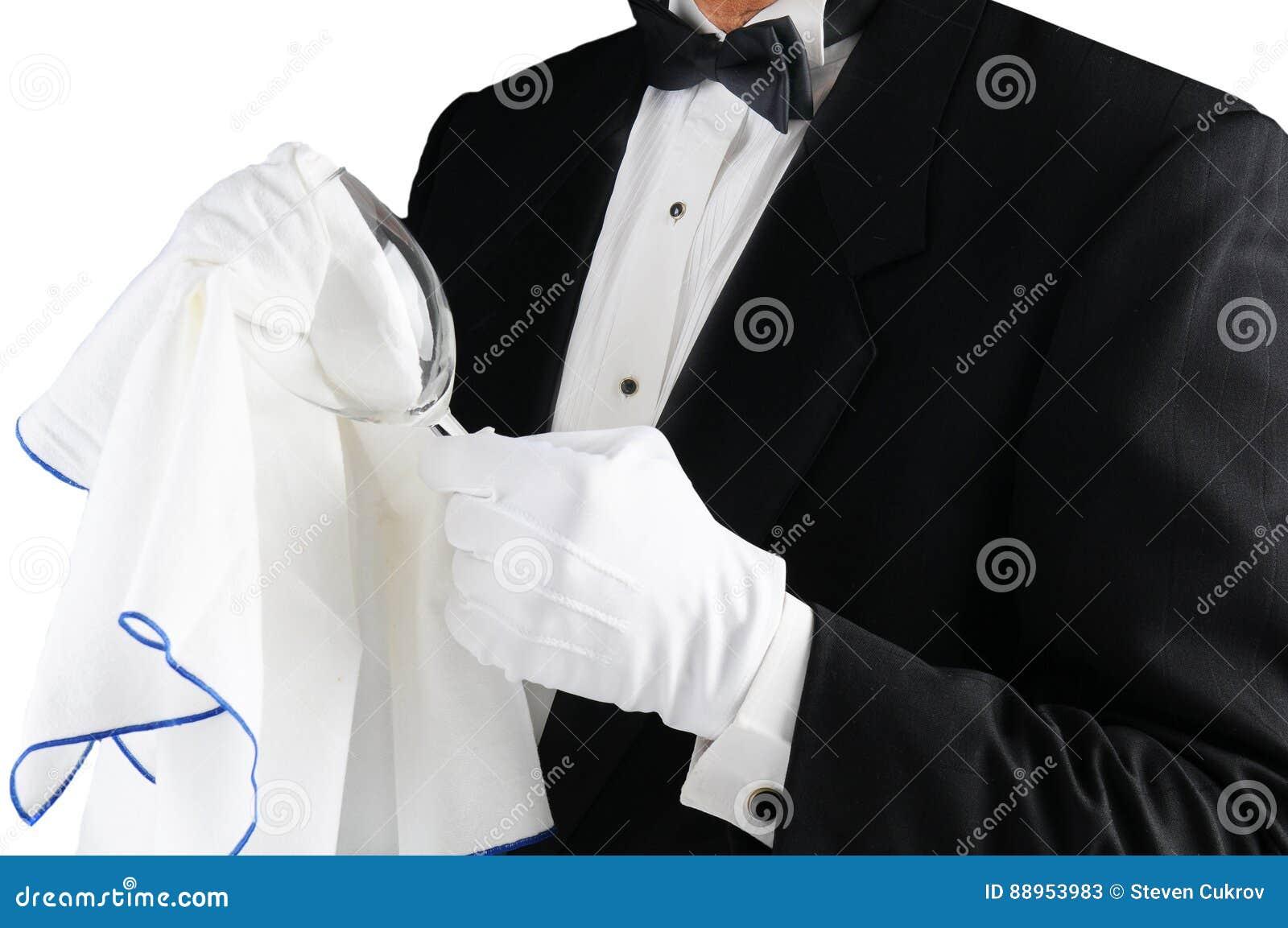 Γυαλίζοντας γυαλί σερβιτόρων