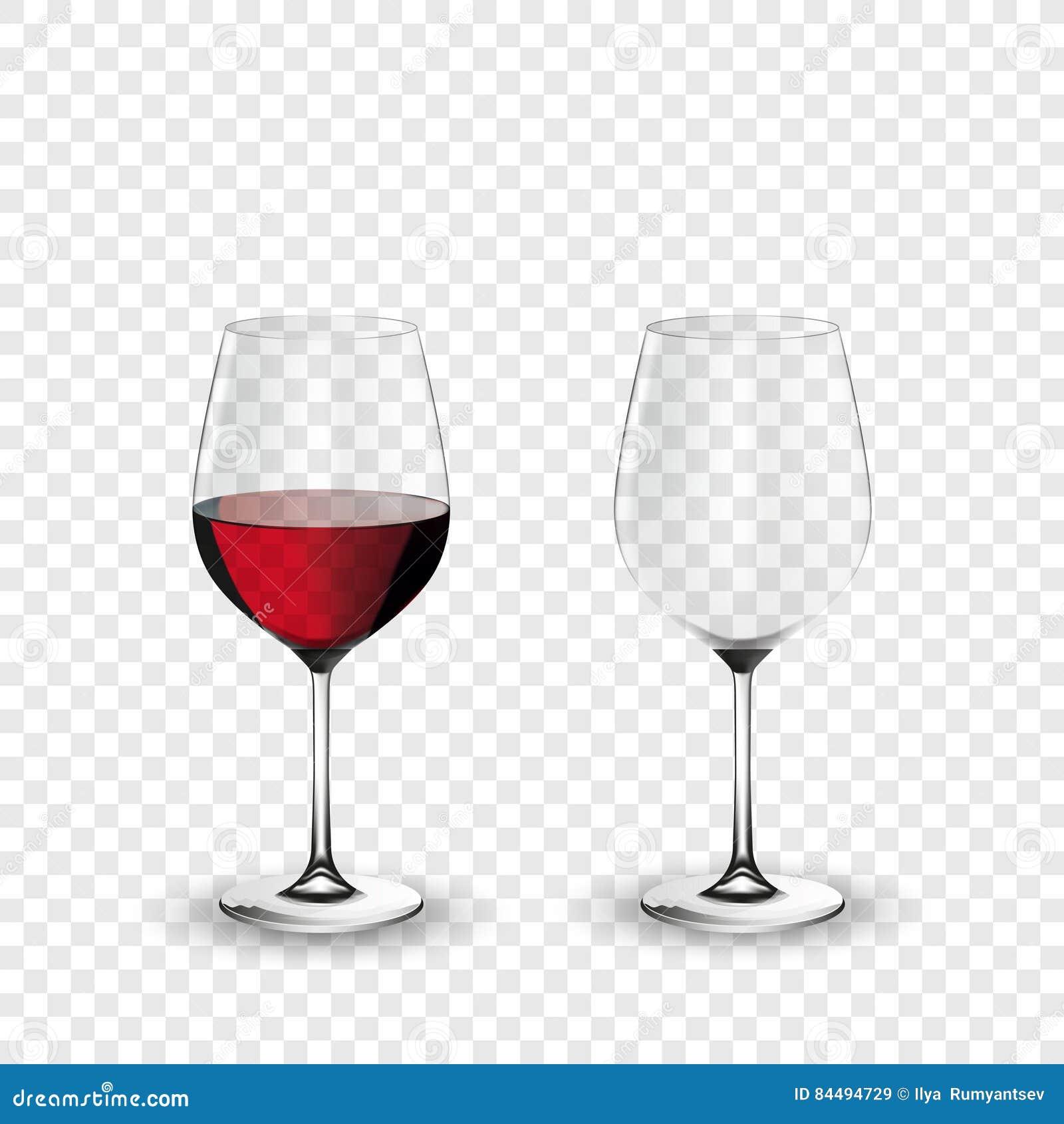 Γυαλί κρασιού, κενό και με το κόκκινο κρασί, διαφανής διανυσματική απεικόνιση