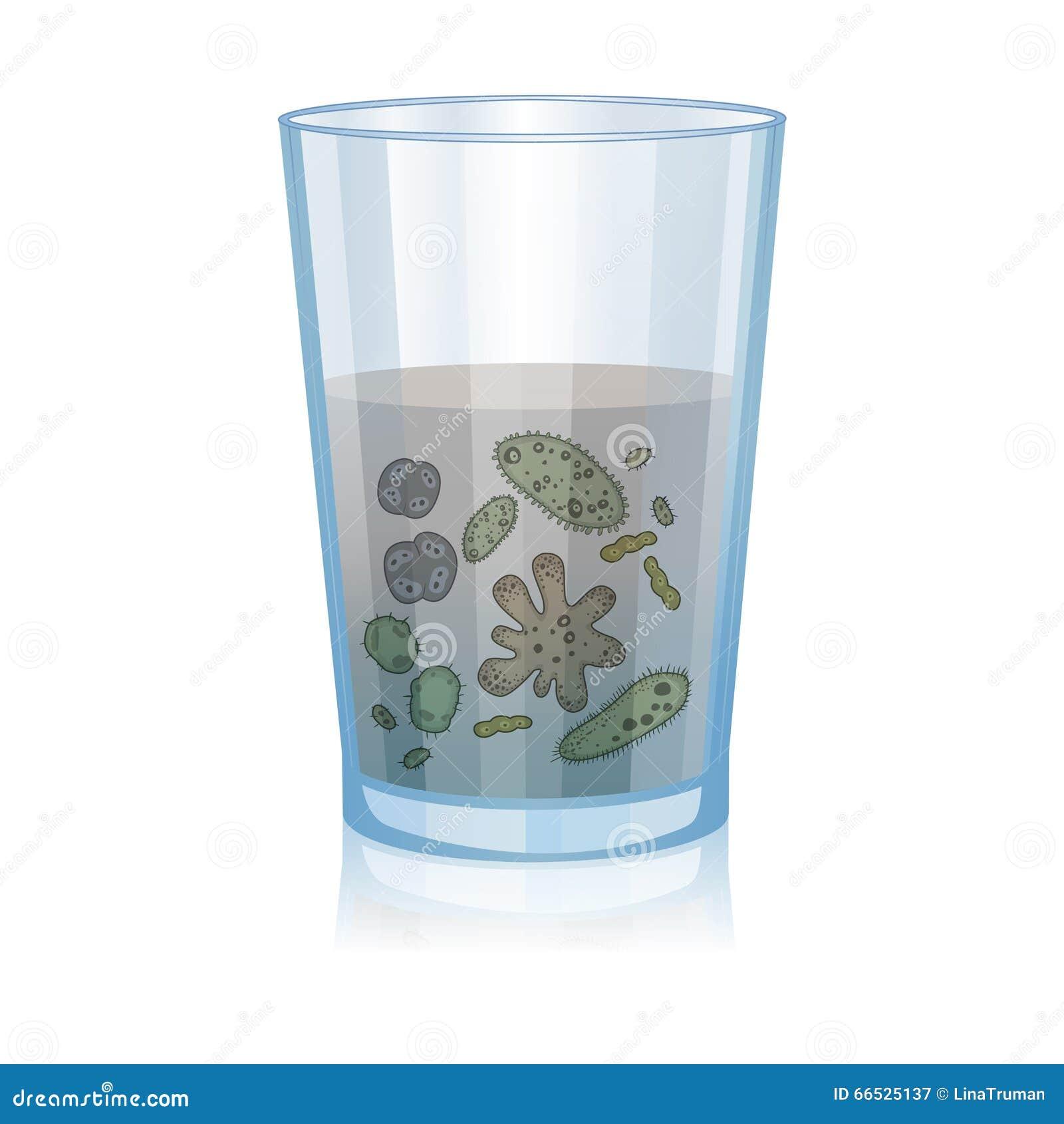 Γυαλί με το βρώμικο νερό, βακτηρίδια, μικροβιολογία επιστήμης