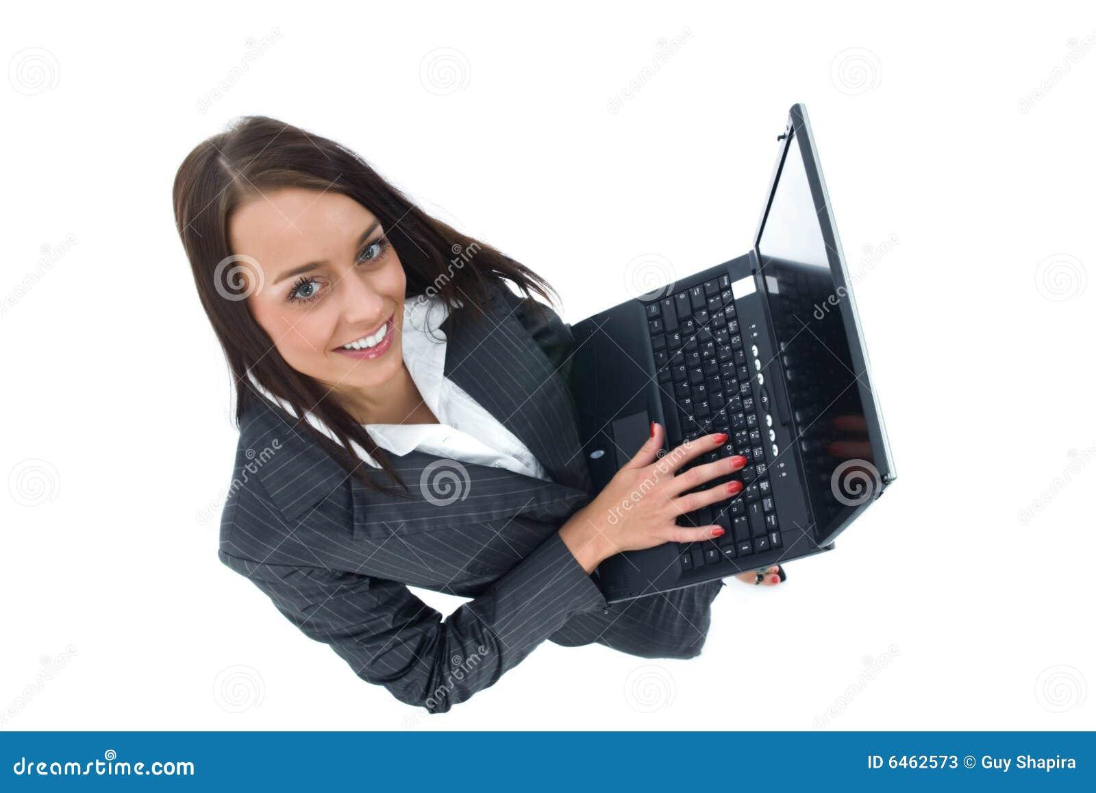γυναίκα επιχειρησιακών lap-t
