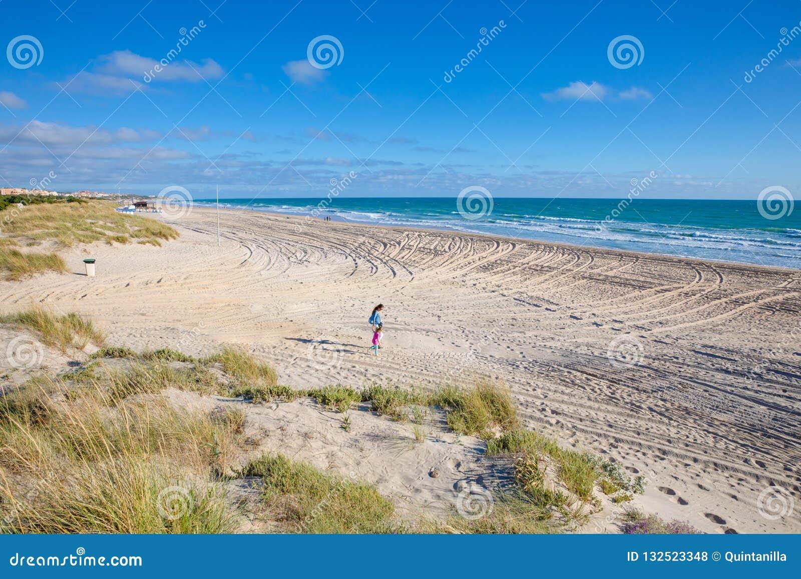 Γυναίκα και μικρό κορίτσι που περπατούν στην άμμο της παραλίας Λα Barrosa σε CAD