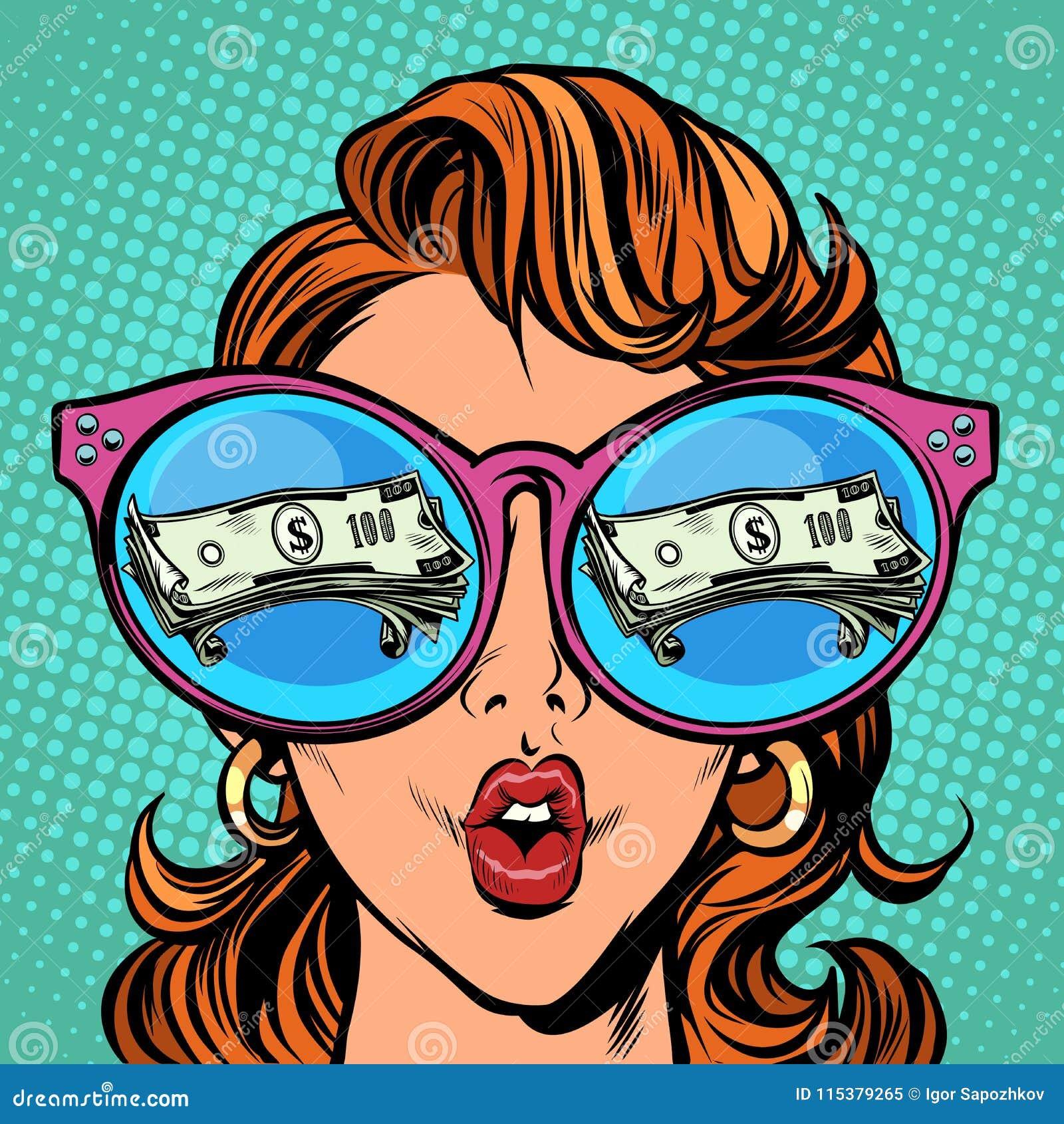 e94a67bfd0 Γυναίκα με τα γυαλιά ηλίου δολάρια χρημάτων στην αντανάκλαση ...