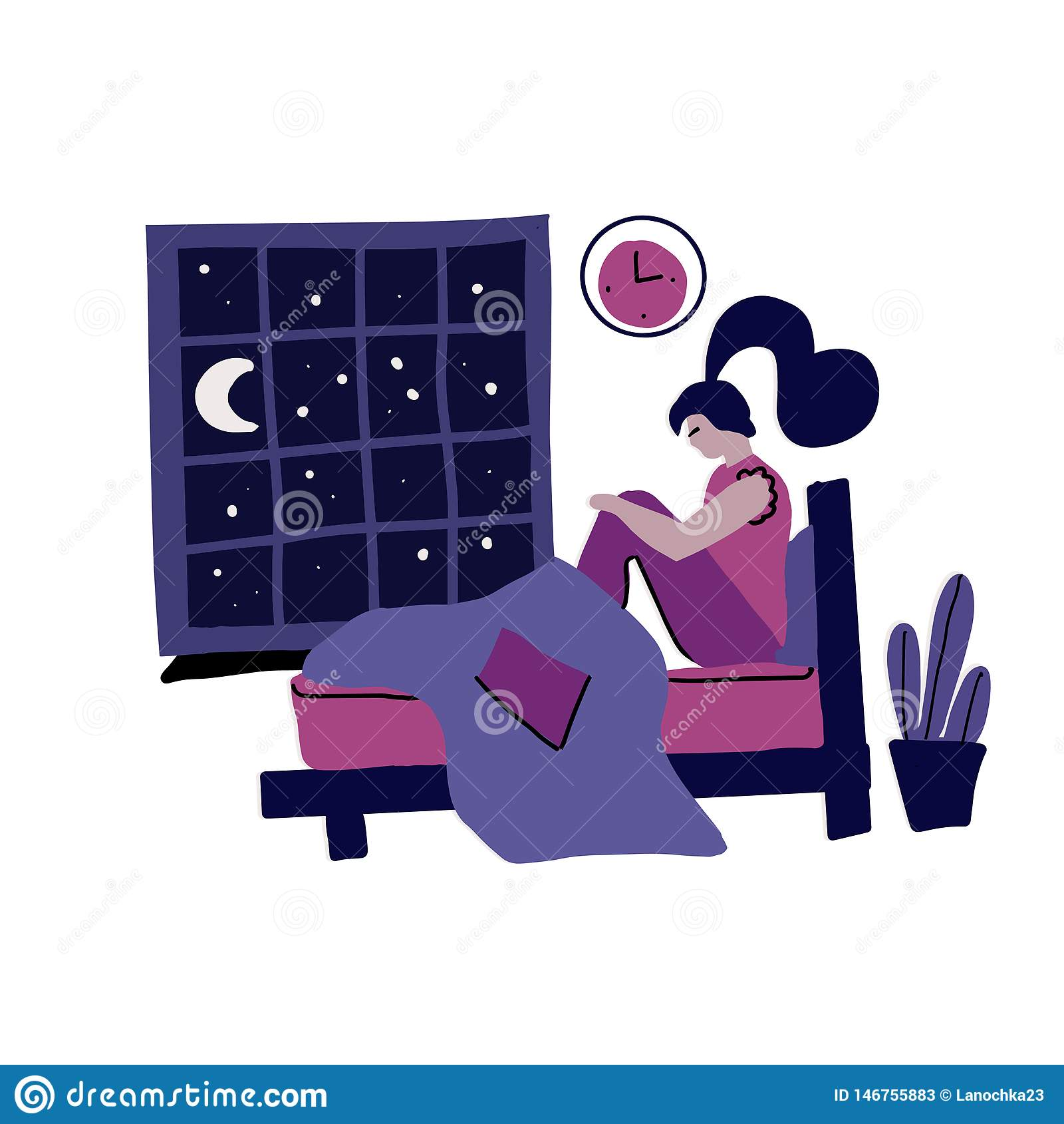 Γυναίκα με την αϋπνία Σύγχρονη συρμένη χέρι επίπεδη έννοια με τη λυπημένη δυστυχισμένη νέα συνεδρίαση γυναικών σε ένα κρεβάτι τη