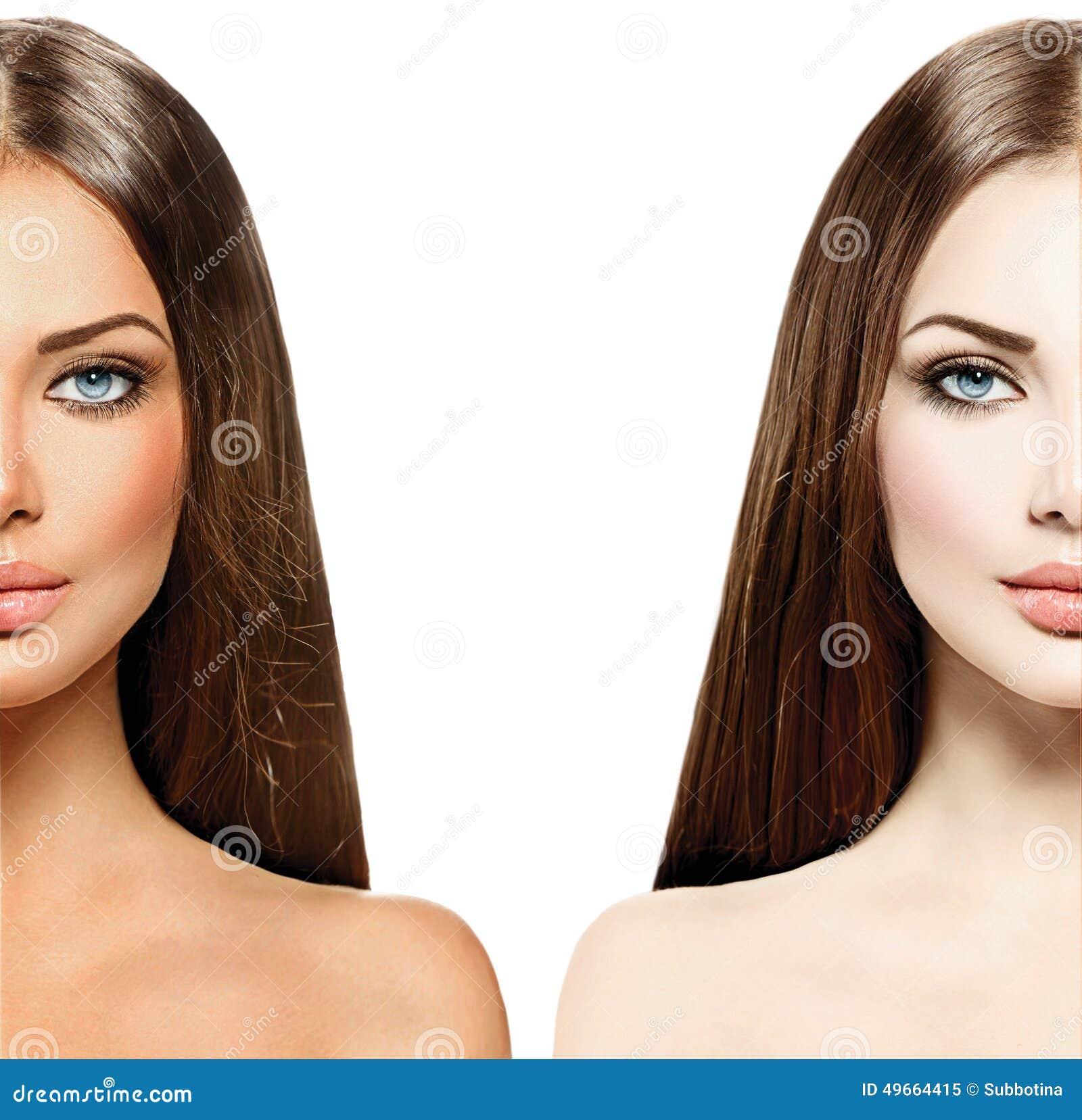 Γυναίκα με το μαυρισμένο δέρμα πριν και μετά από το μαύρισμα