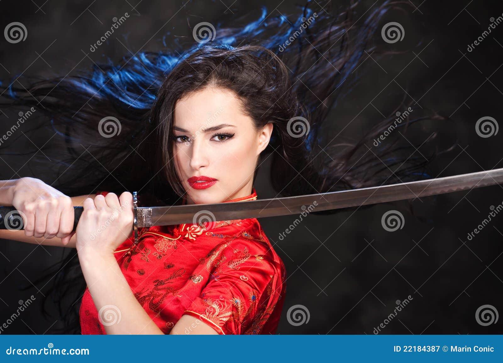 γυναίκα ξιφών κιμονό katana