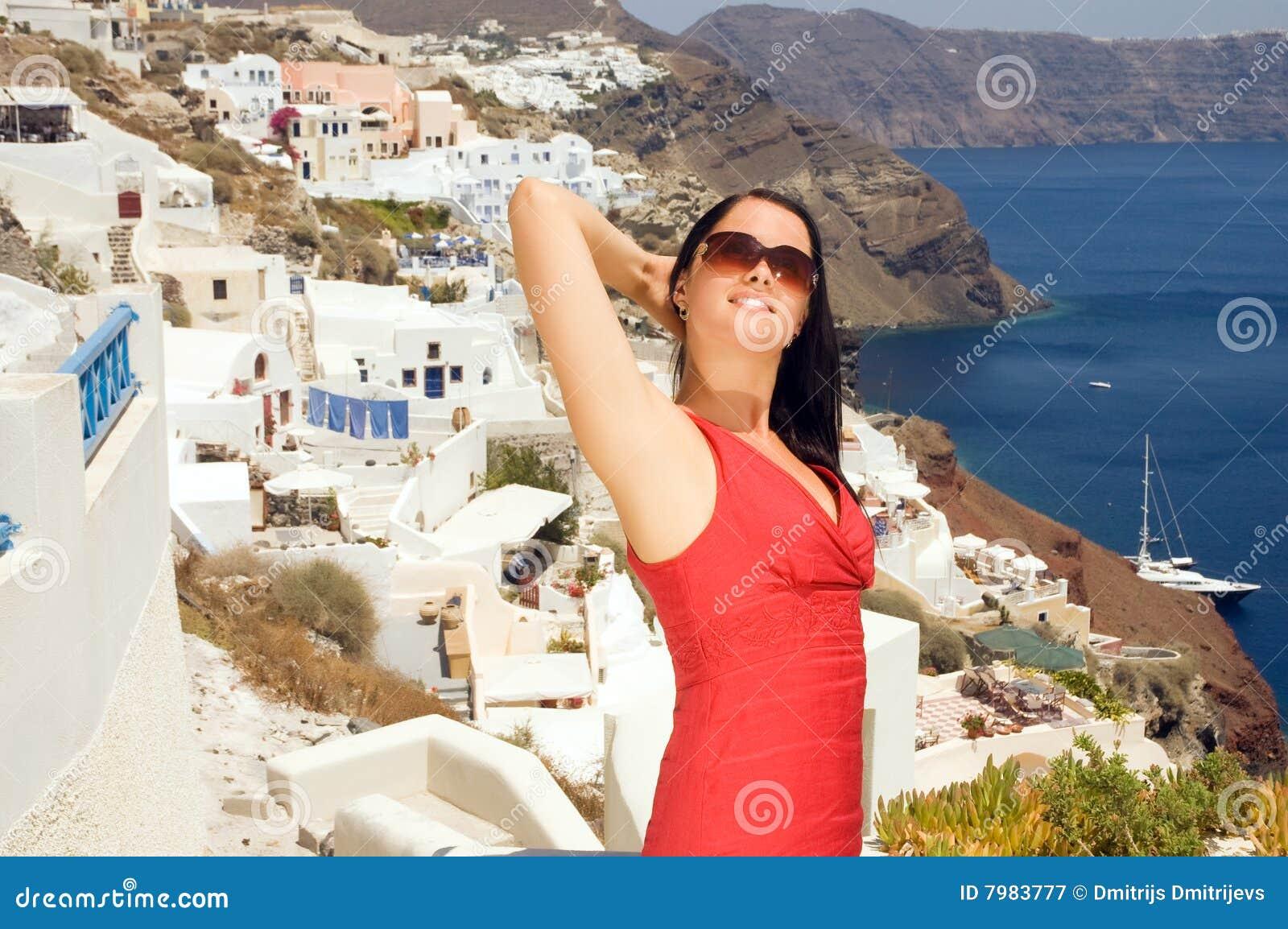 γυναίκα οδών santorini της Ελλάδ&a
