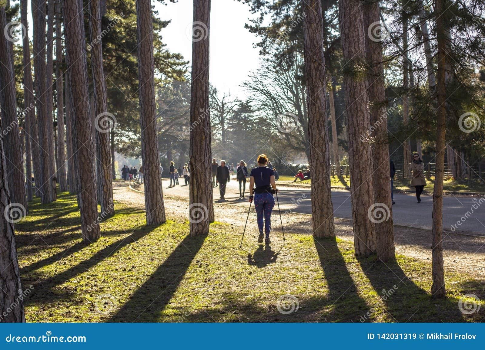 Γυναίκα που ασκεί στο πάρκο στο Παρίσι Σκανδιναβικά περπατώντας την άνοιξη τη φύση