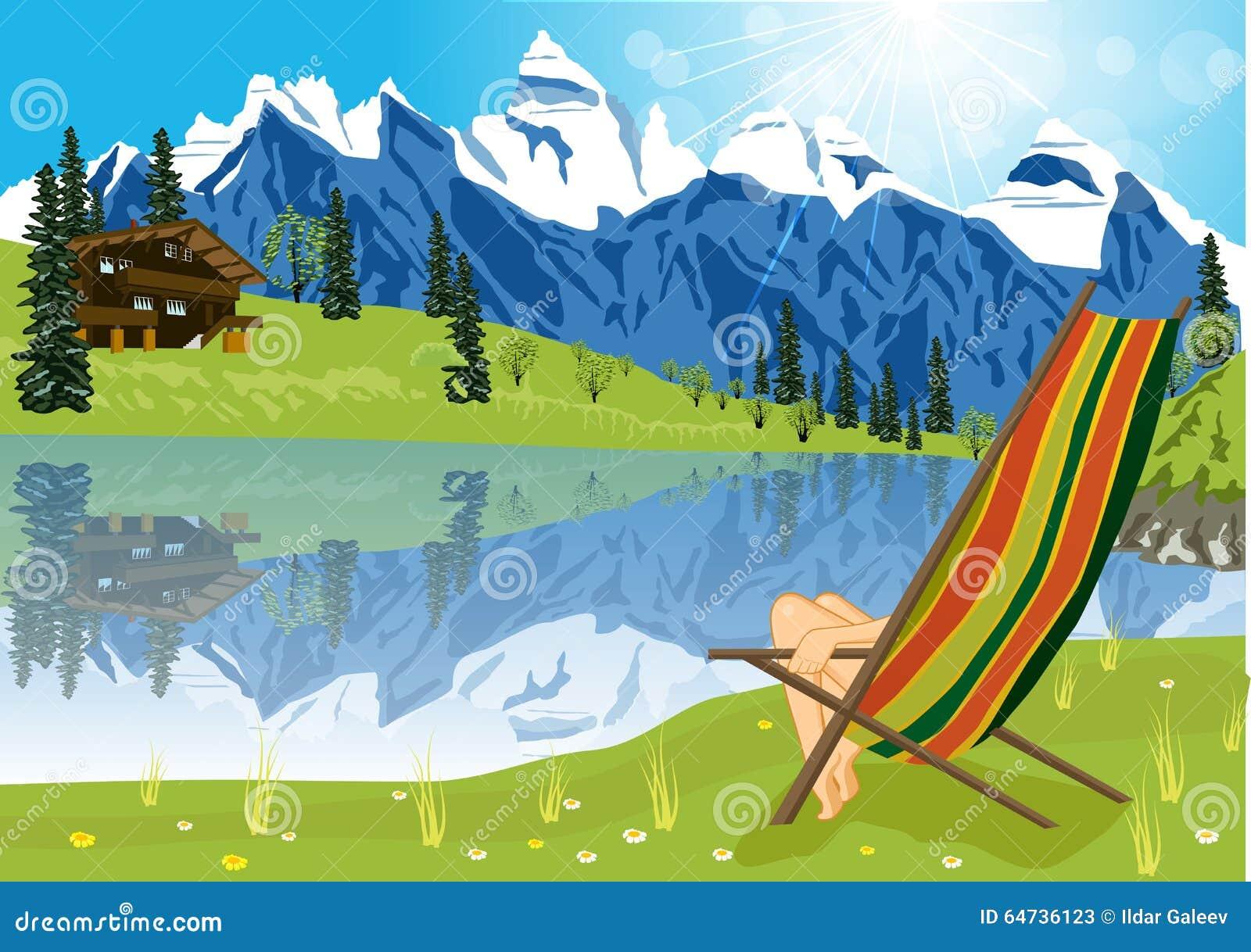 Γυναίκα που κάνει ηλιοθεραπεία στην καρέκλα σαλονιών εκτός από μια λίμνη που βρίσκεται στο πόδι ενός βουνού