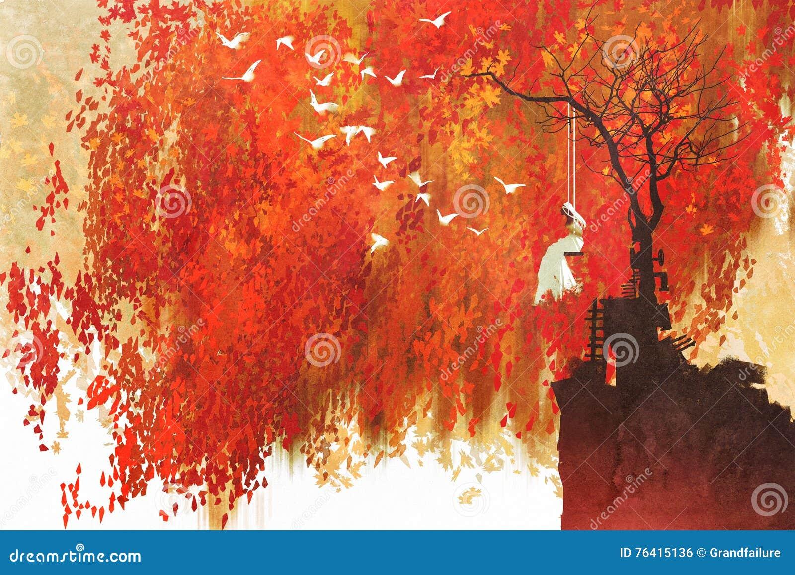 Γυναίκα σε μια ταλάντευση κάτω από το δέντρο φθινοπώρου