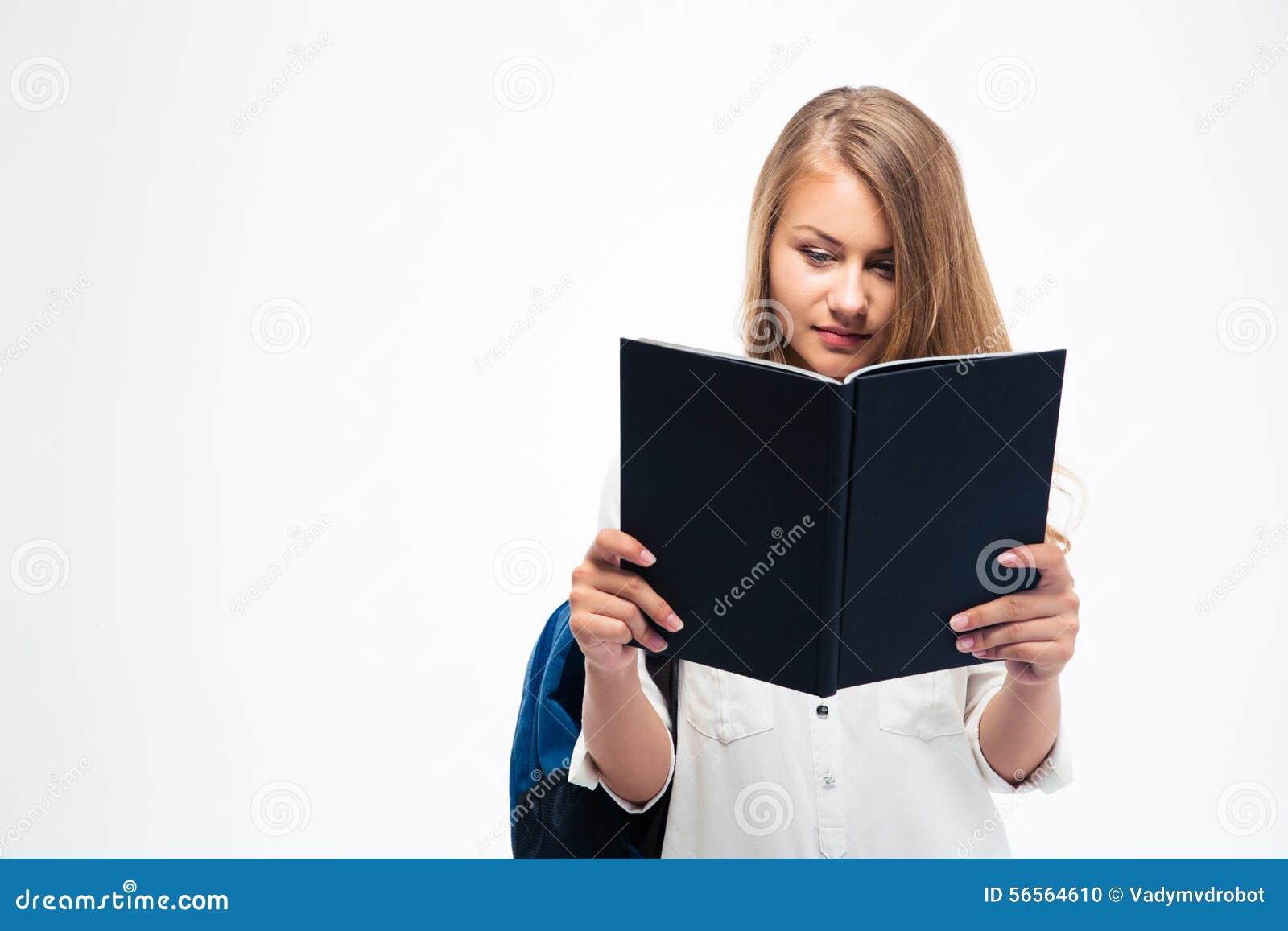 Download Γυναίκα σπουδαστής με το βιβλίο ανάγνωσης σακιδίων πλάτης Στοκ Εικόνες - εικόνα από ανασκόπησης, κορίτσι: 56564610
