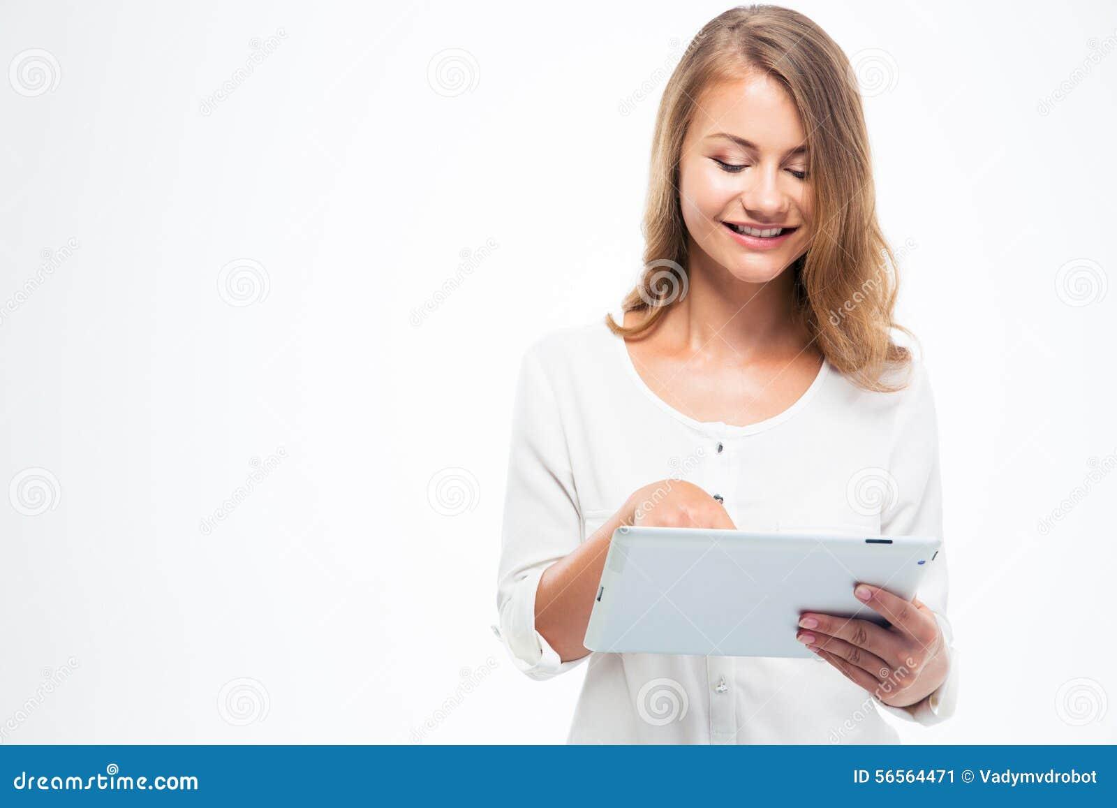Download Γυναίκα σπουδαστής που χρησιμοποιεί το μαξιλάρι αφής Στοκ Εικόνα - εικόνα από πορτρέτο, ανασκόπησης: 56564471