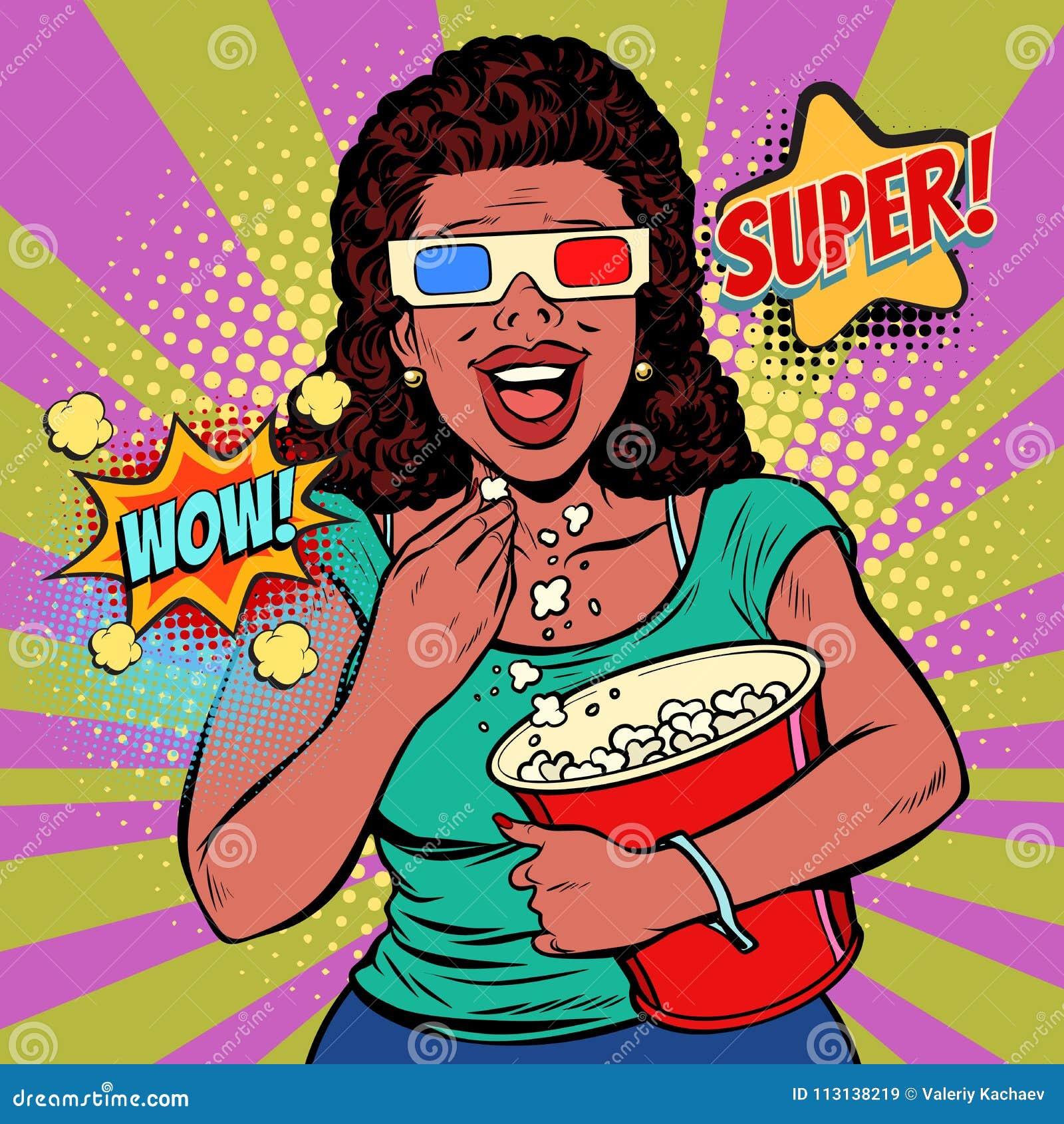 Γυναίκα στα τρισδιάστατα γυαλιά που προσέχουν έναν κινηματογράφο, που χαμογελούν και που τρώνε popcorn