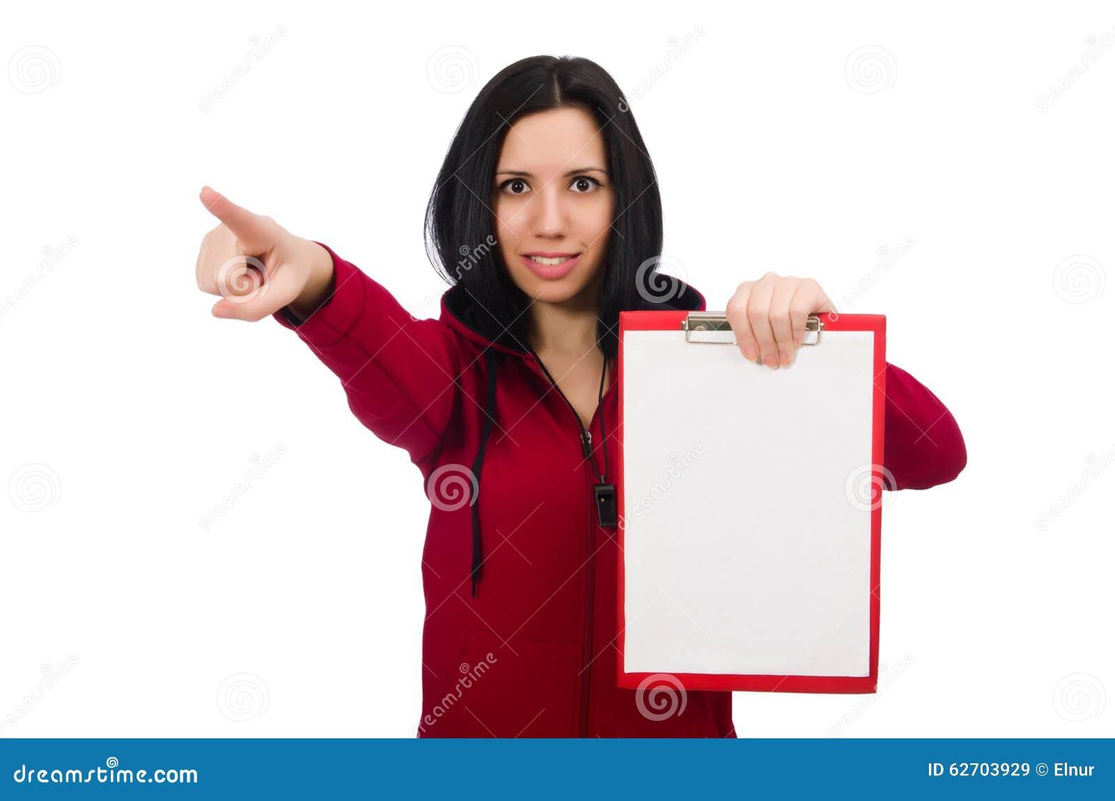 Γυναίκα στην αθλητική έννοια στο άσπρο υπόβαθρο