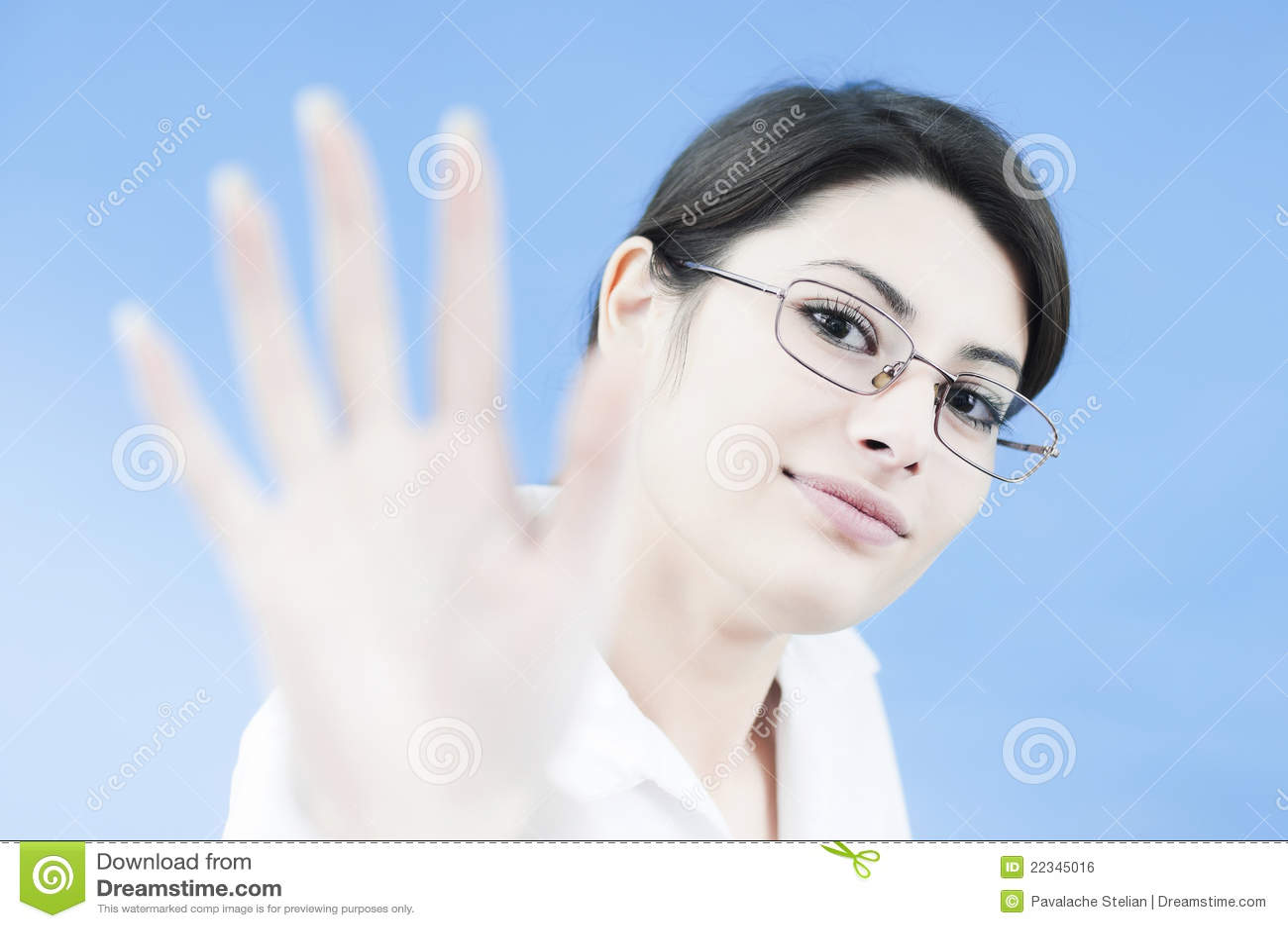 γυναίκα χαιρετισμού πελ&