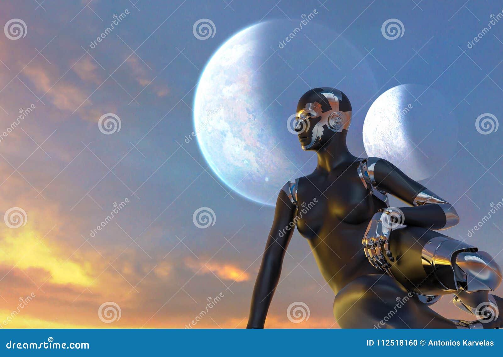 Γυναίκα Cyborg - Humanoid που φαίνεται το ηλιοβασίλεμα