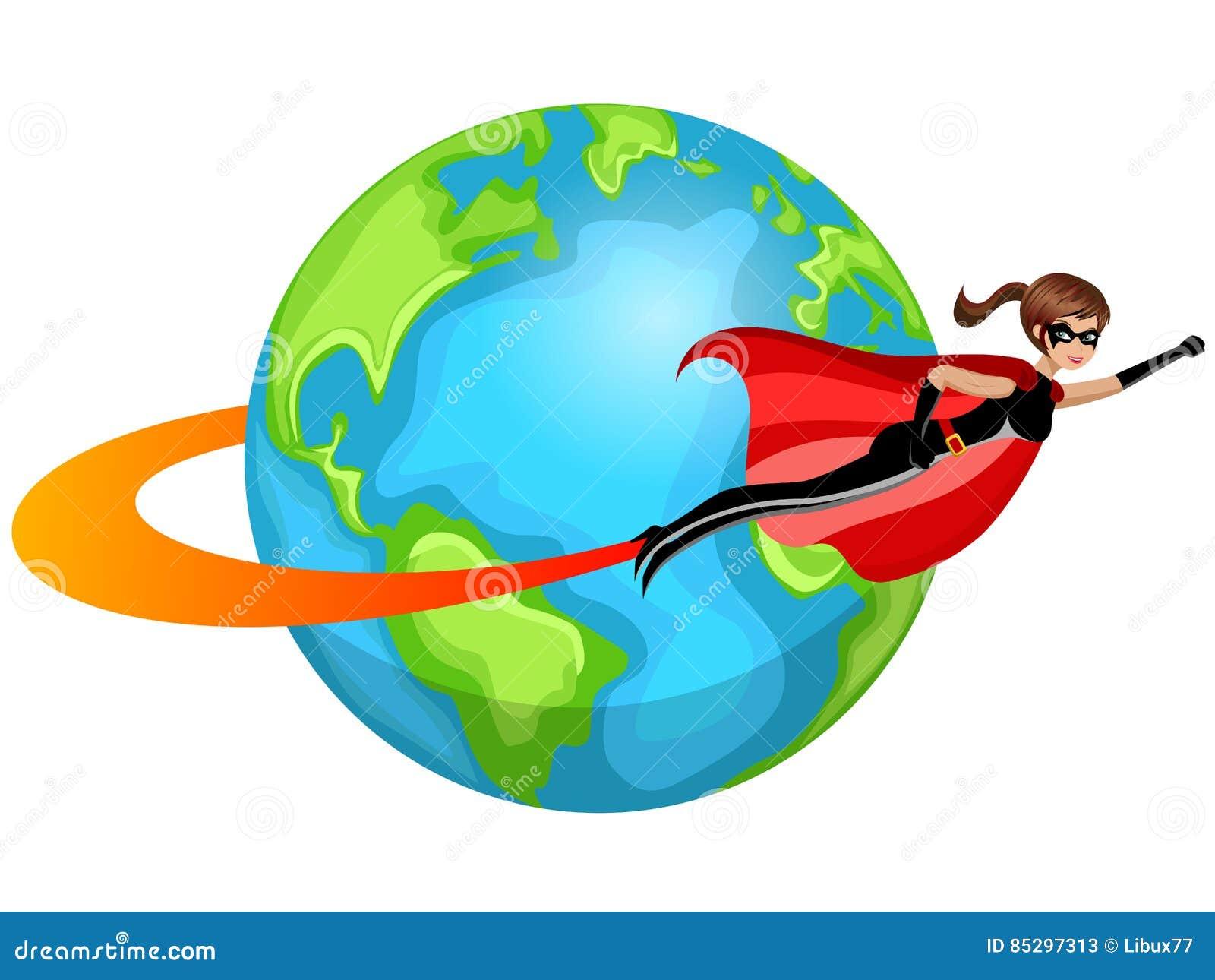 Γυναίκα Superhero που πετά σε όλο τον κόσμο που απομονώνεται