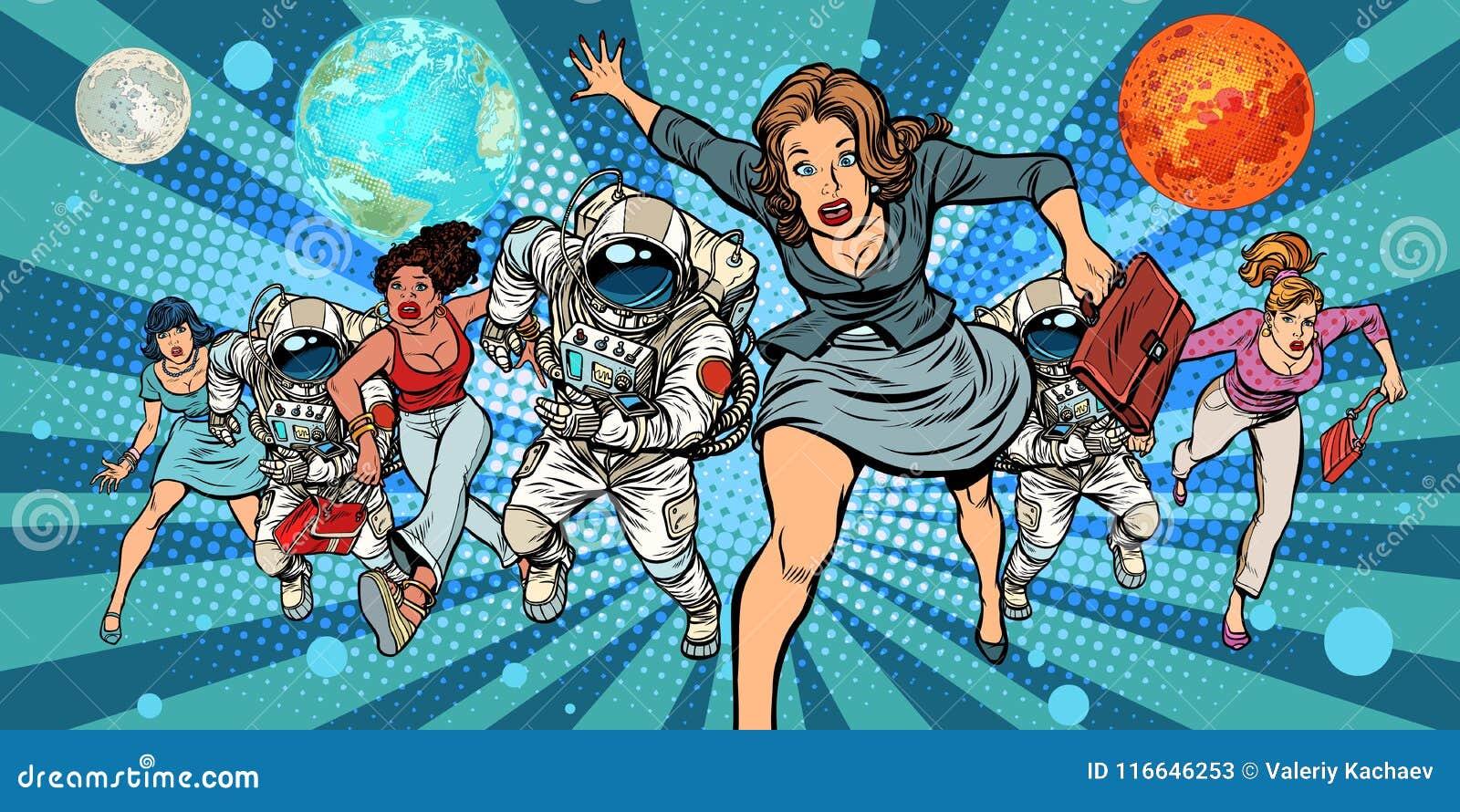 Γυναίκες και αστροναύτες που τρέχουν στο μέλλον στο διάστημα