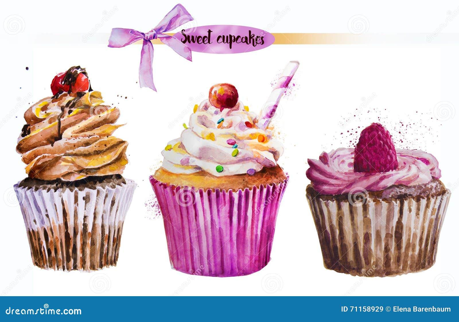 Γλυκό cupcake Watercolor