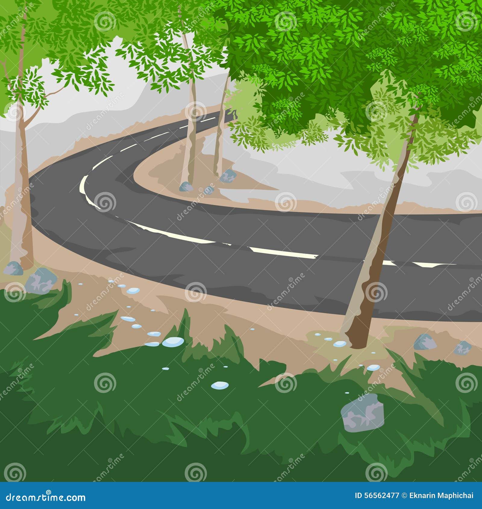 Download Δάσος και δρόμος απεικόνιση αποθεμάτων. εικονογραφία από χώρα - 56562477