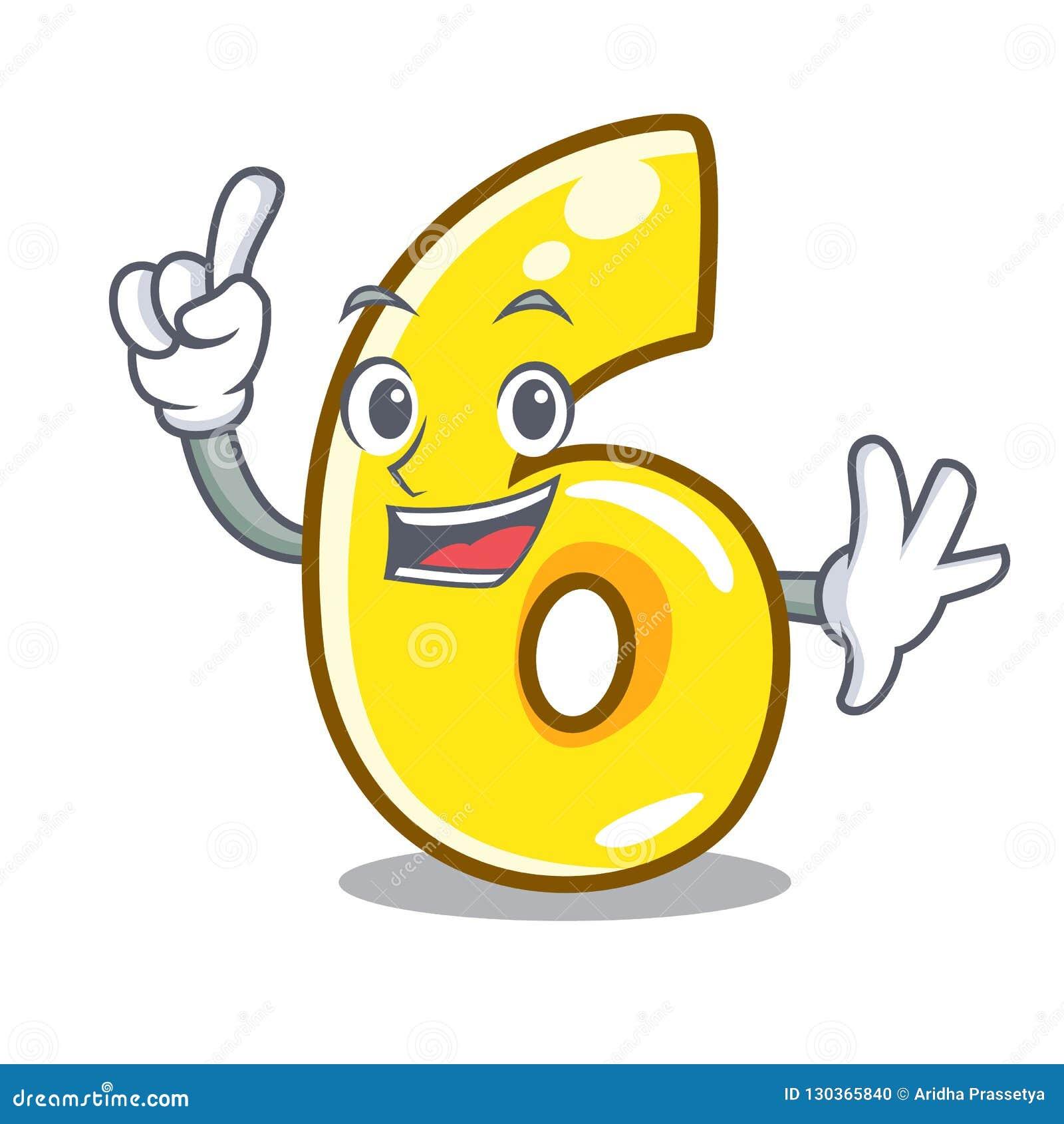 Δάχτυλο αριθμός έξι που απομονώνεται στη μασκότ
