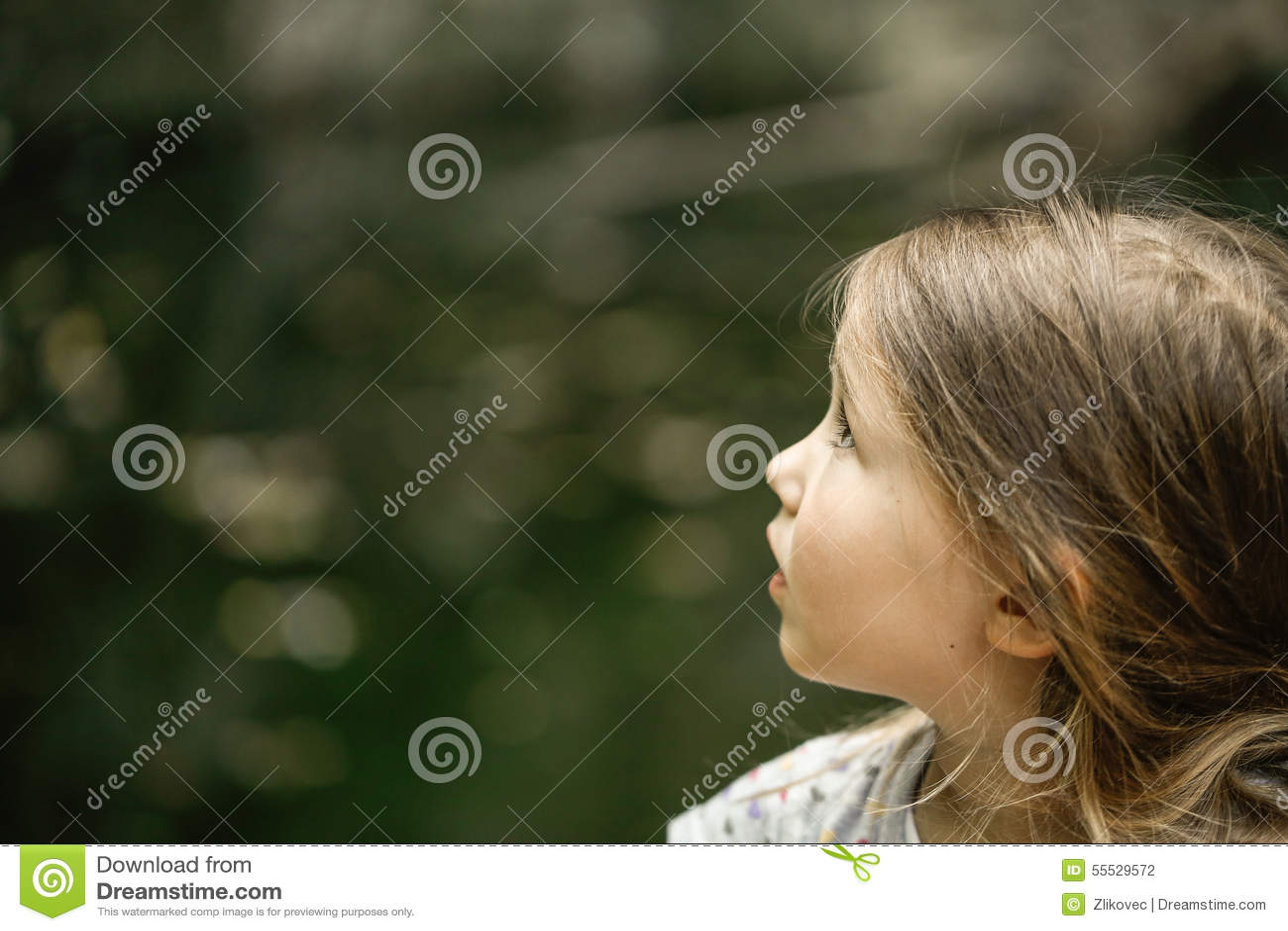 Δέντρα, ουρανοί και πουλιά προσοχής μικρών κοριτσιών στο δέο