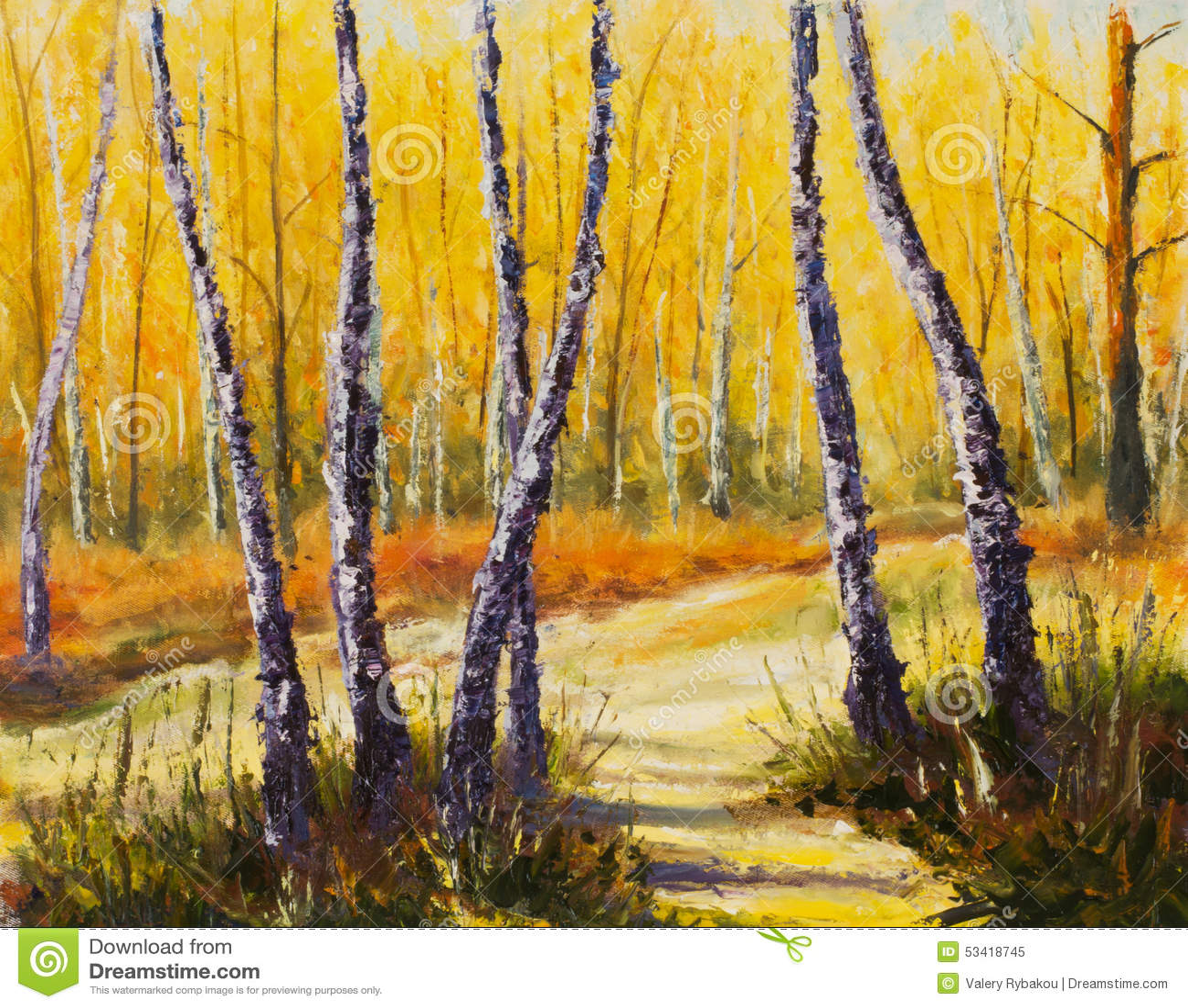 Δέντρα σημύδων σε ένα ηλιόλουστο δασικό έργο τέχνης μαχαιριών παλετών impressionism τέχνη