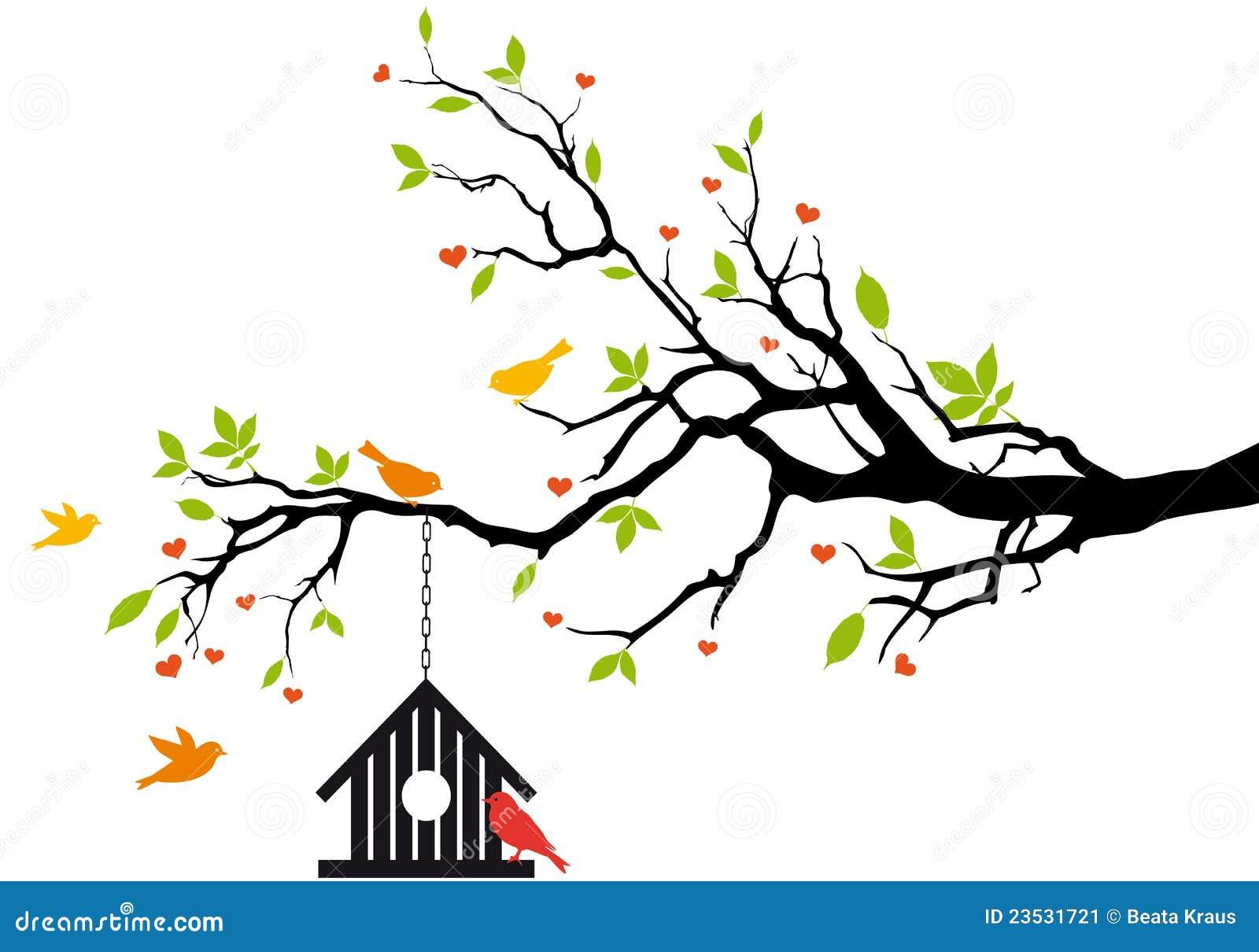 δέντρο άνοιξη σπιτιών πουλιών