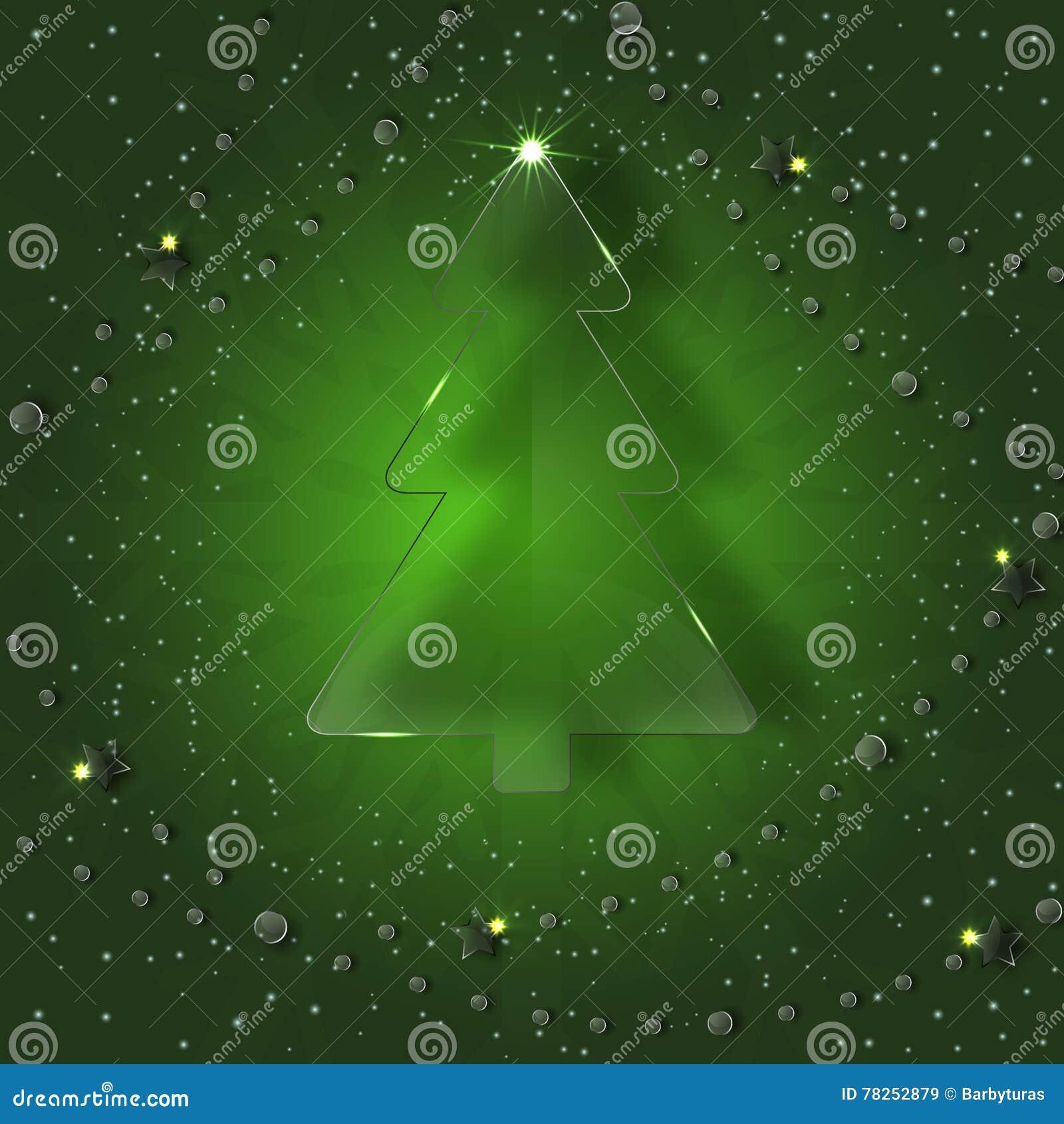Δέντρο γυαλιού σε ένα πράσινο υπόβαθρο με snowflakes