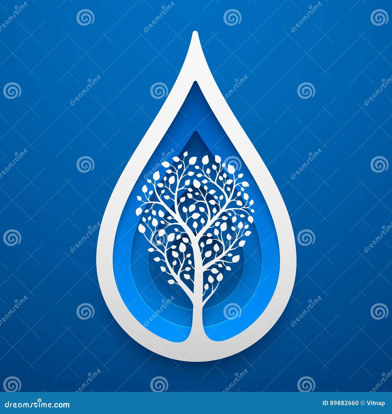 Δέντρο μέσα στη μορφή πτώσης νερού Τέχνη εγγράφου για τη γήινη ημέρα
