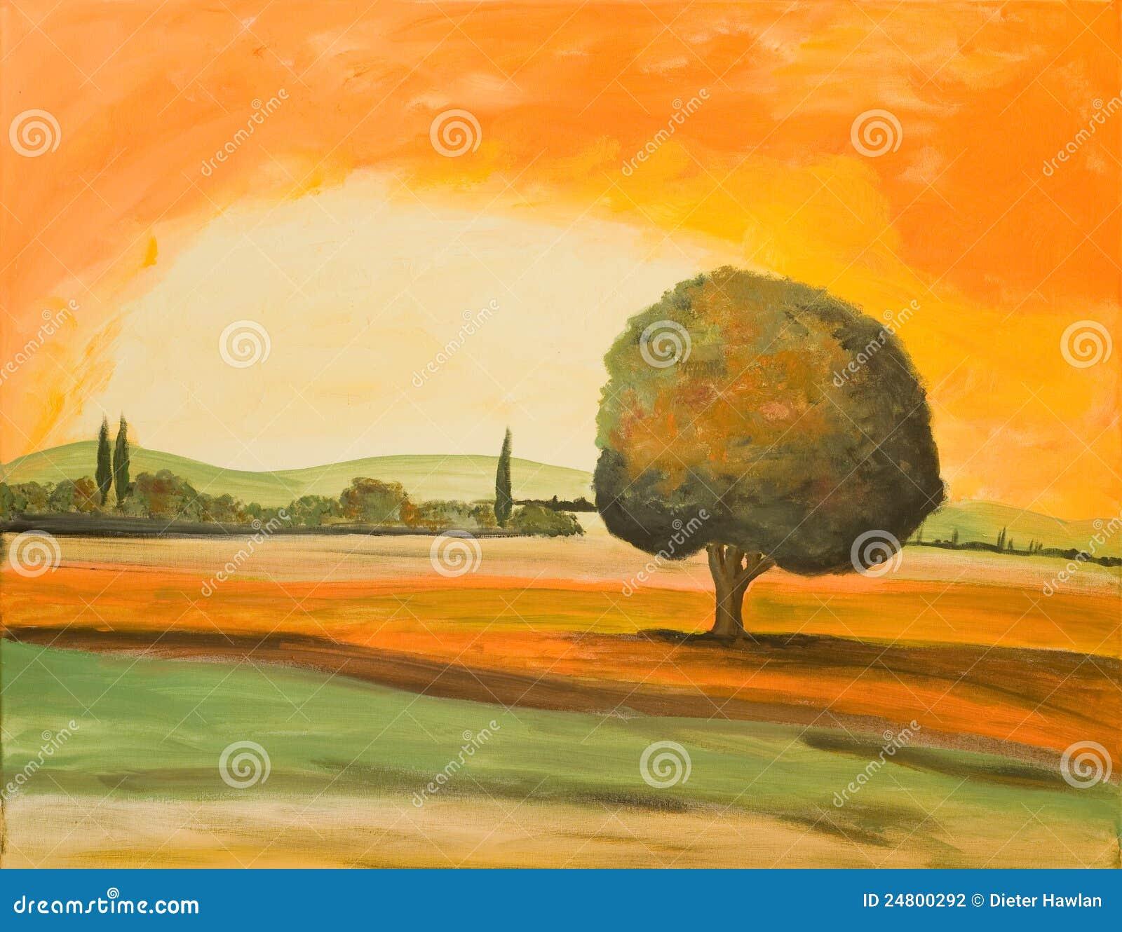 δέντρο Τοσκάνη τοπίων