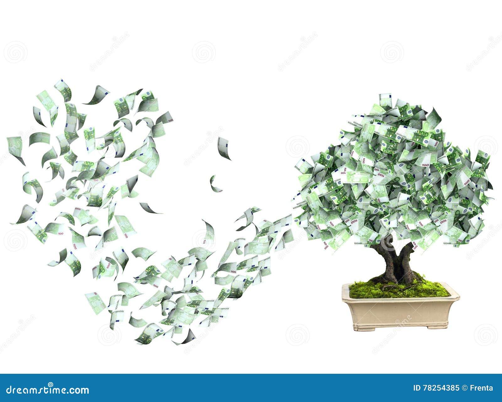 Δέντρο χρημάτων με τα ευρο- τραπεζογραμμάτια
