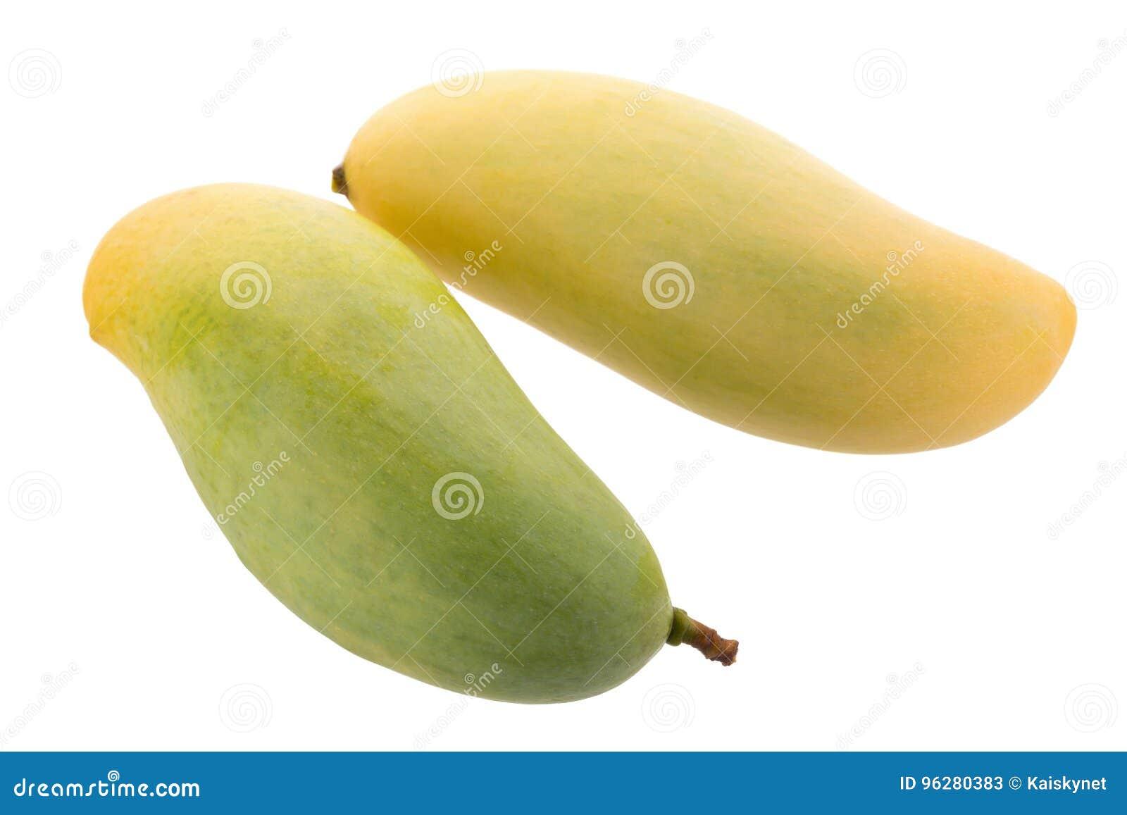 Δέσμη των γλυκών κίτρινων φρούτων μάγκο που απομονώνονται στο άσπρο υπόβαθρο