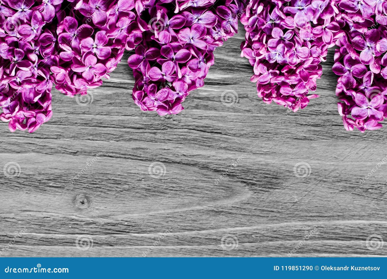 Δέσμη των φρέσκων ιωδών ιωδών λουλουδιών στην κορυφή του ξύλινου γκρίζου πίνακα