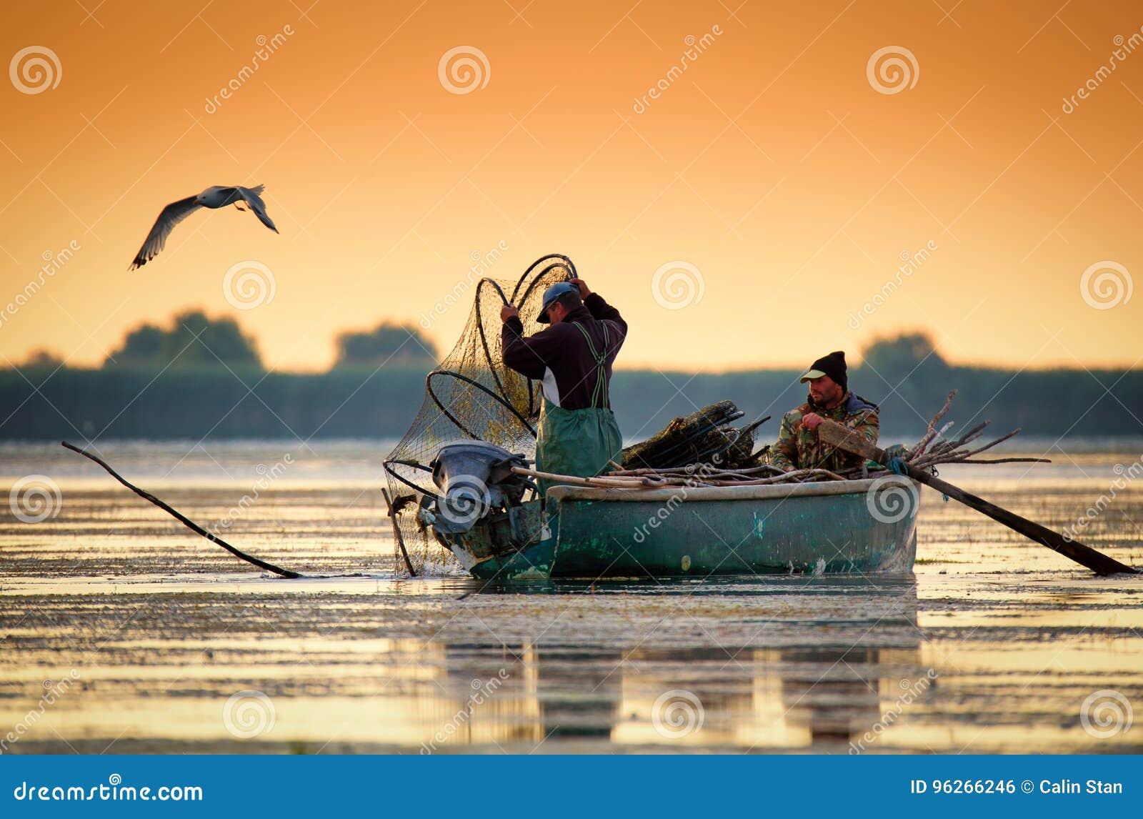 Δέλτα Δούναβη, Ρουμανία, τον Ιούνιο του 2017: fishermans ελέγχοντας τις φωλιές στο s