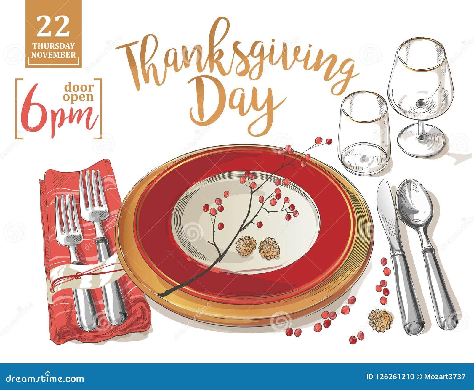 Δίκρανα προτύπων αφισών ημέρας των ευχαριστιών, μαχαίρια, κουτάλια, κενό γυαλί κρασιού πιάτων