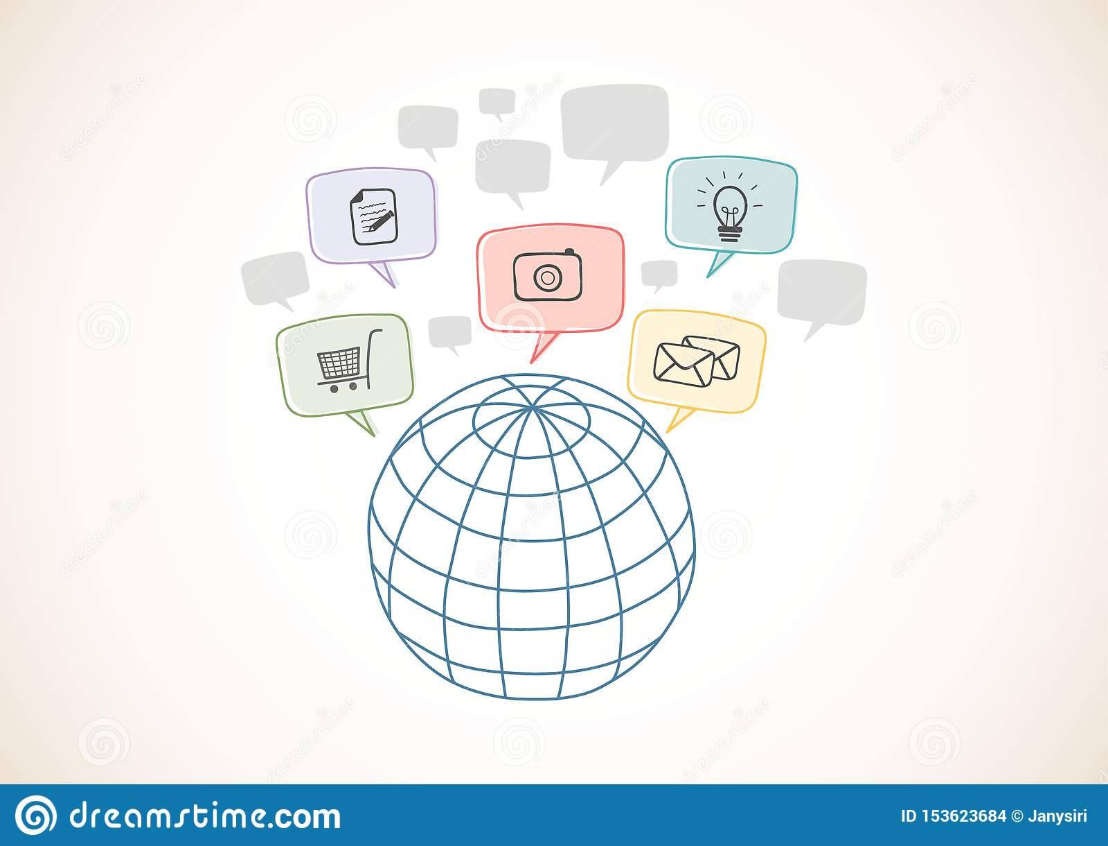 Δίκτυο Ίντερνετ με τα εικονίδια, παγκόσμια επιχειρησιακή σύνδεση Συρμένες χέρι μορφές